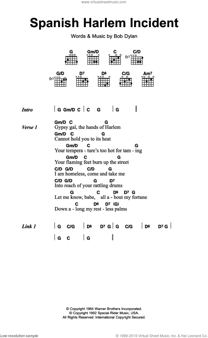 Spanish Harlem Incident sheet music for guitar (chords) by Bob Dylan. Score Image Preview.