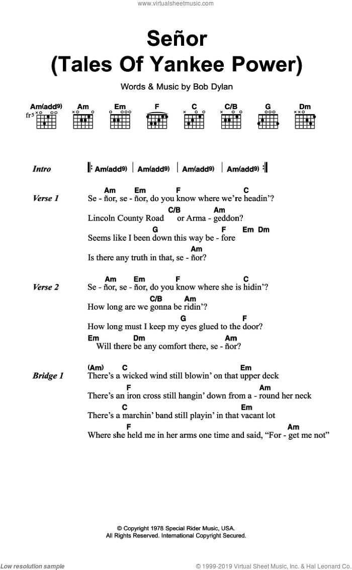 Senor (Tales Of Yankee Power) sheet music for guitar (chords) by Bob Dylan. Score Image Preview.