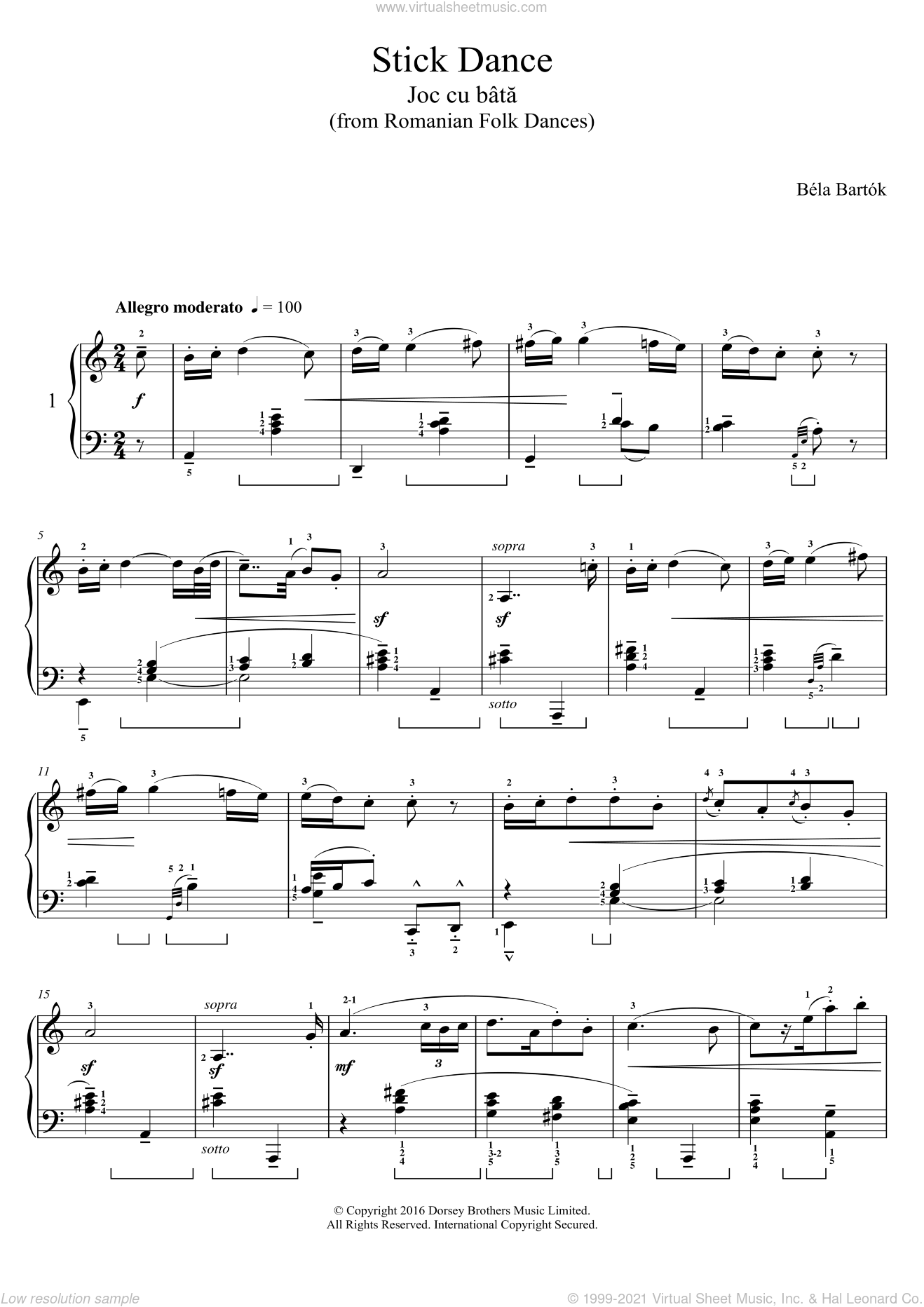 Stick Dance (from Romanian Folk Dances) sheet music for piano solo by Bela Bartok, classical score, intermediate skill level