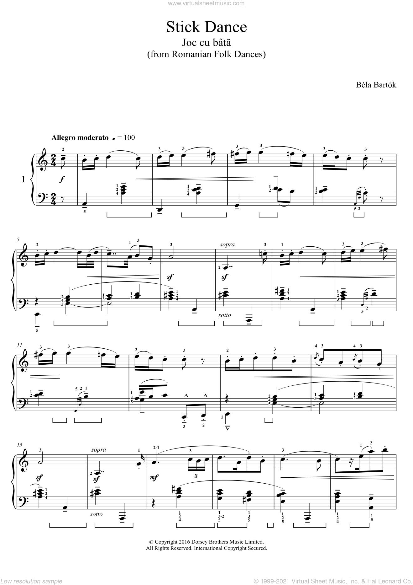Stick Dance (from Romanian Folk Dances) sheet music for piano solo by Bela Bartok and Bela Bartok, classical score, intermediate skill level