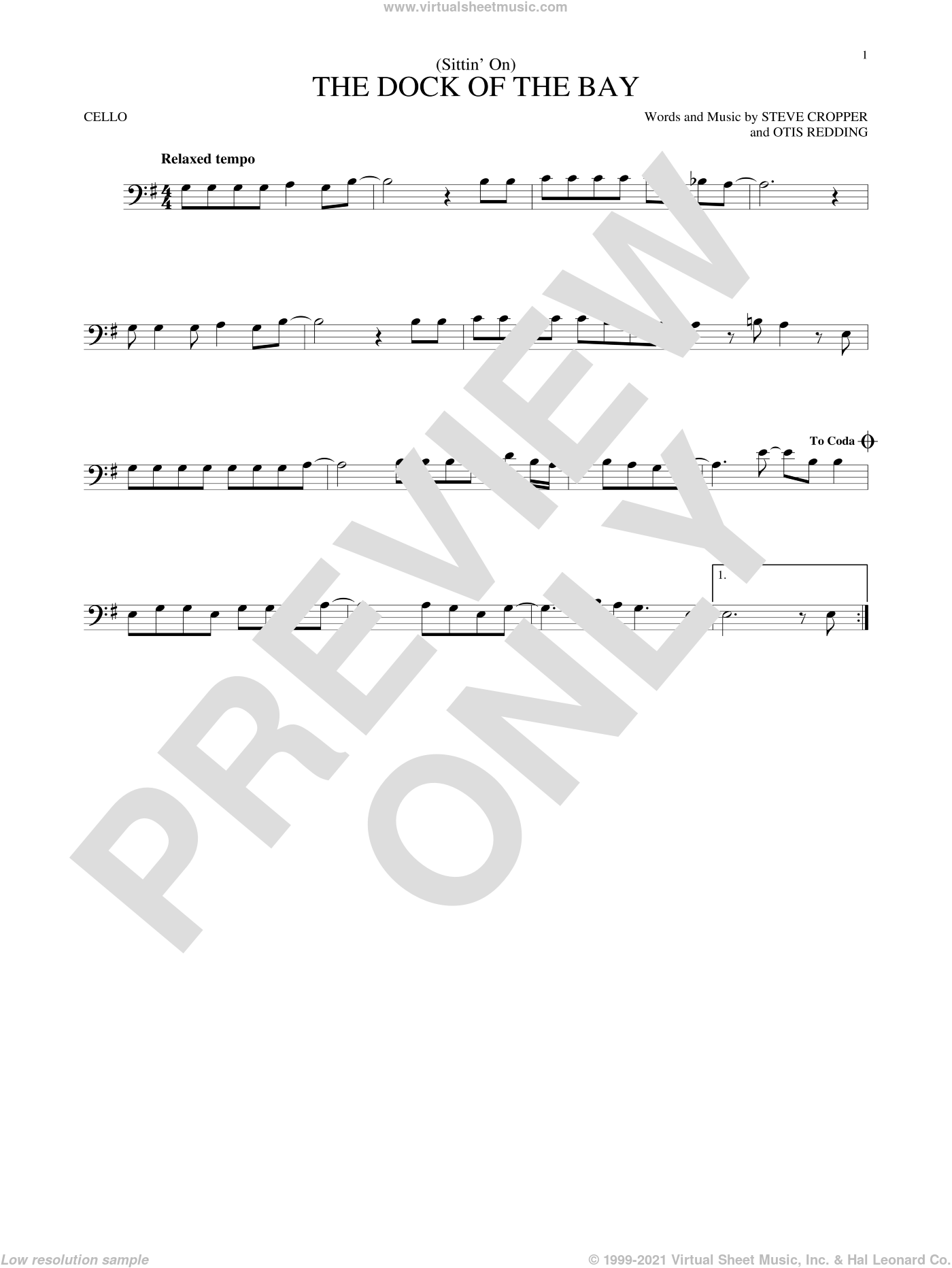 (Sittin' On) The Dock Of The Bay sheet music for cello solo by Otis Redding and Steve Cropper, intermediate. Score Image Preview.