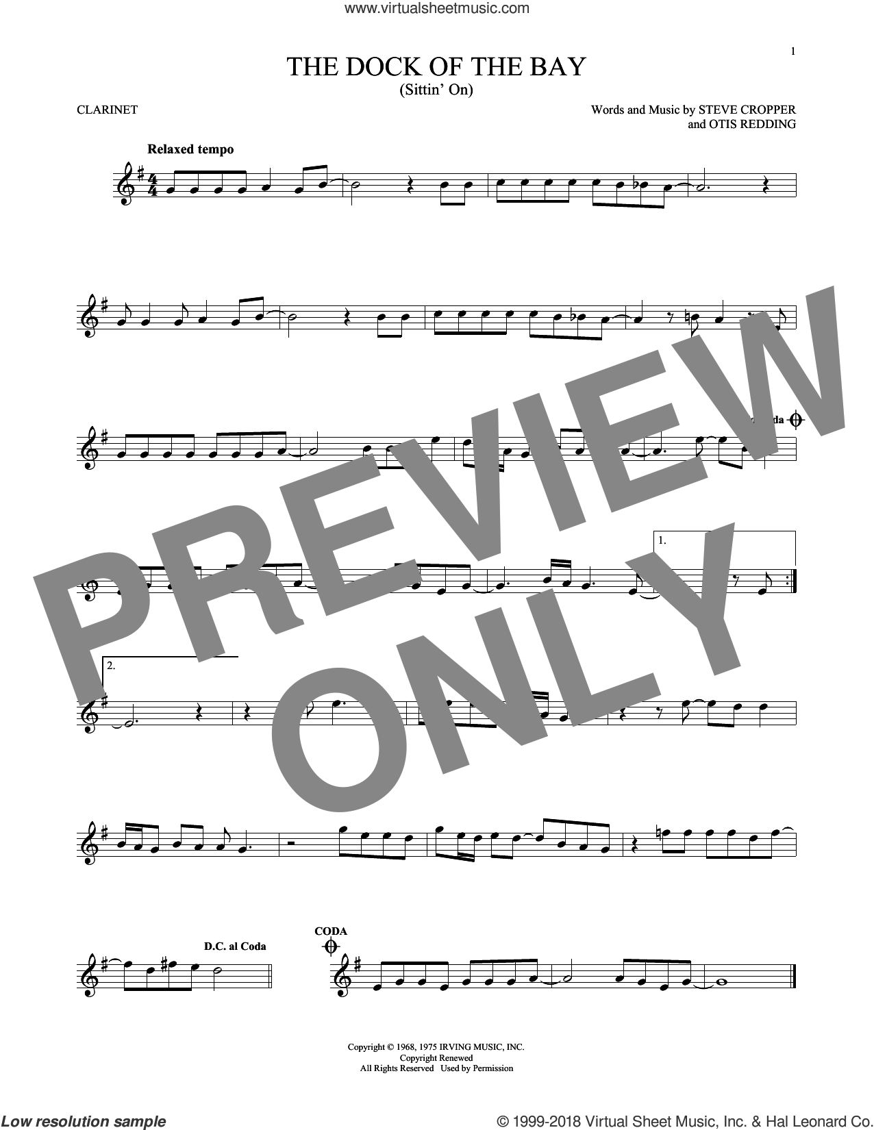 (Sittin' On) The Dock Of The Bay sheet music for clarinet solo by Otis Redding and Steve Cropper, intermediate skill level