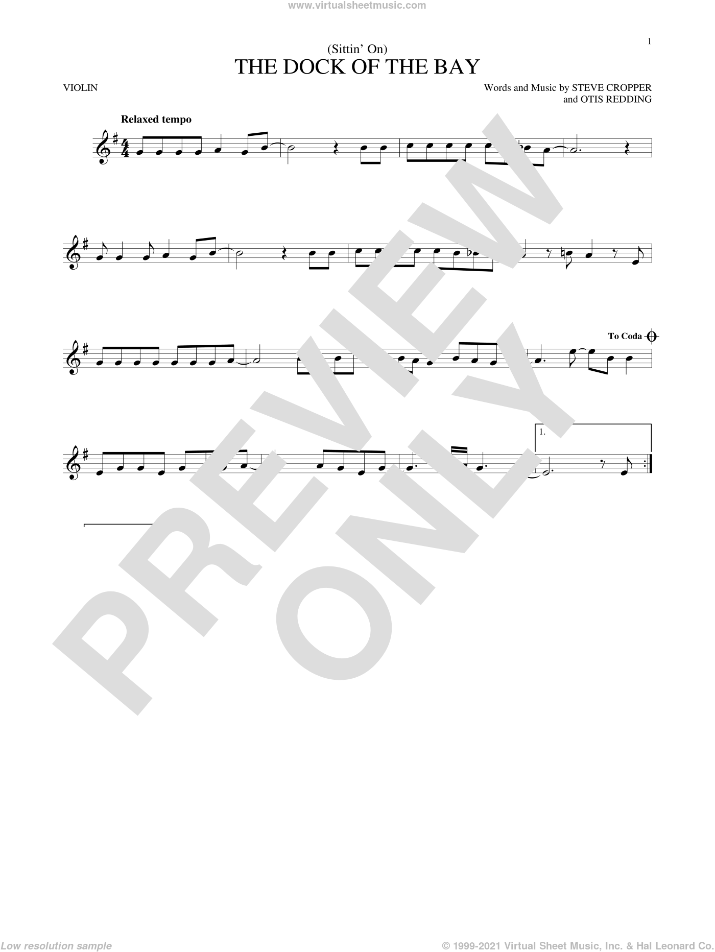 (Sittin' On) The Dock Of The Bay sheet music for violin solo by Otis Redding and Steve Cropper, intermediate skill level
