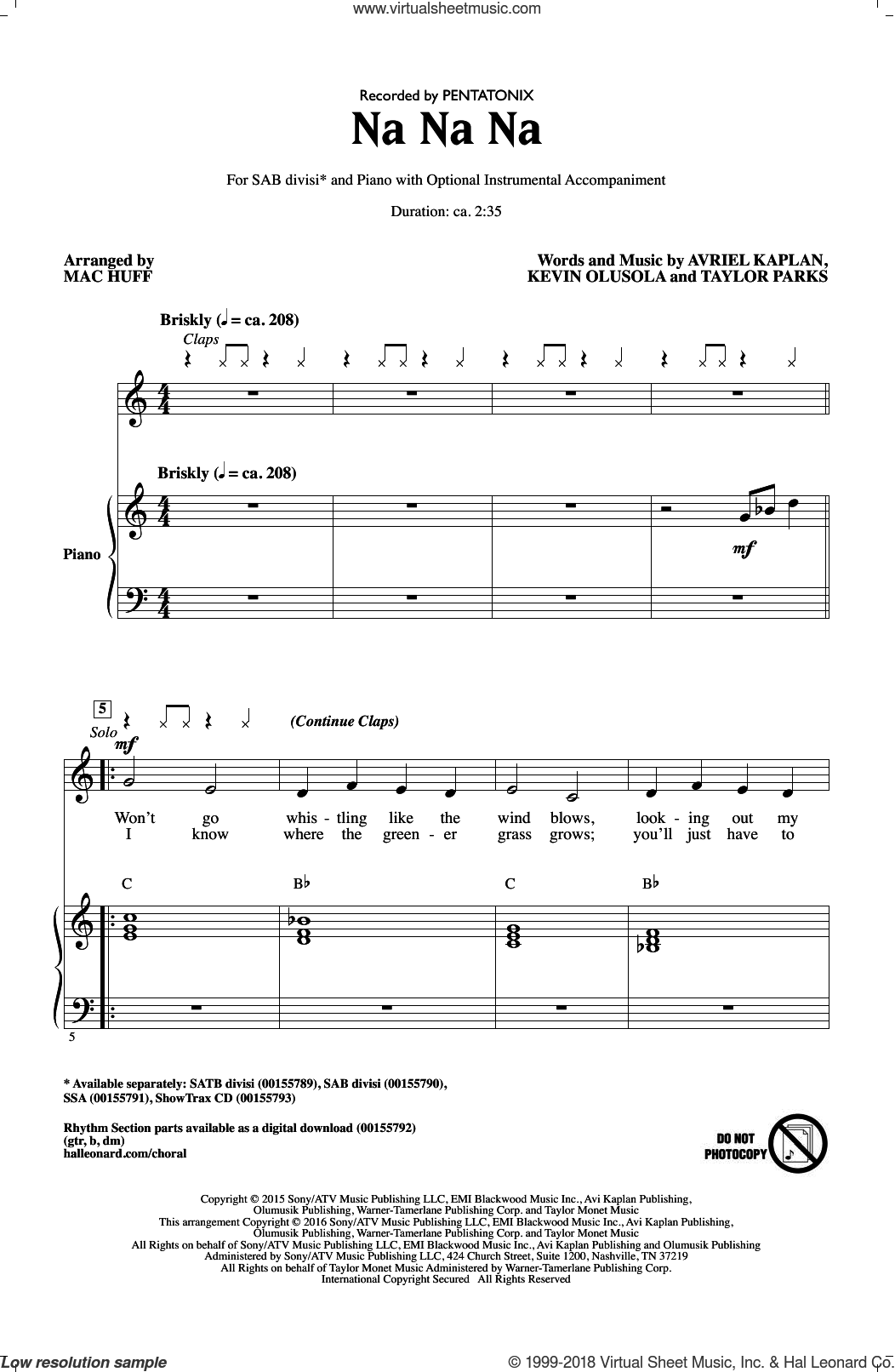 Na Na Na sheet music for choir by Mac Huff, Pentatonix, Kevin Olusola and Taylor Parks. Score Image Preview.