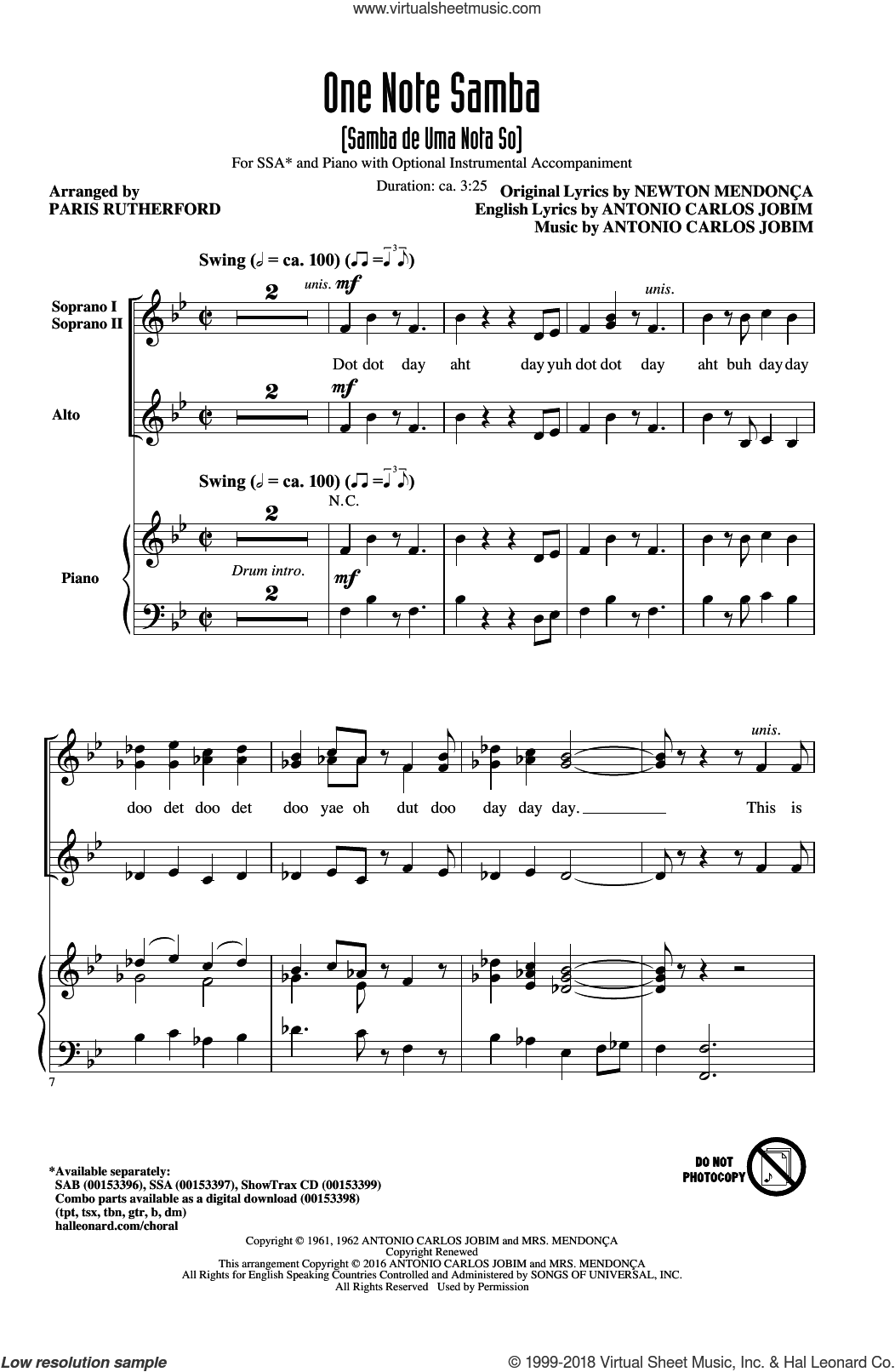 One Note Samba (Samba De Uma Nota So) sheet music for choir (soprano voice, alto voice, choir) by Pat Thomas, Paris Rutherford, Antonio Carlos Jobim and Newton Mendonca. Score Image Preview.