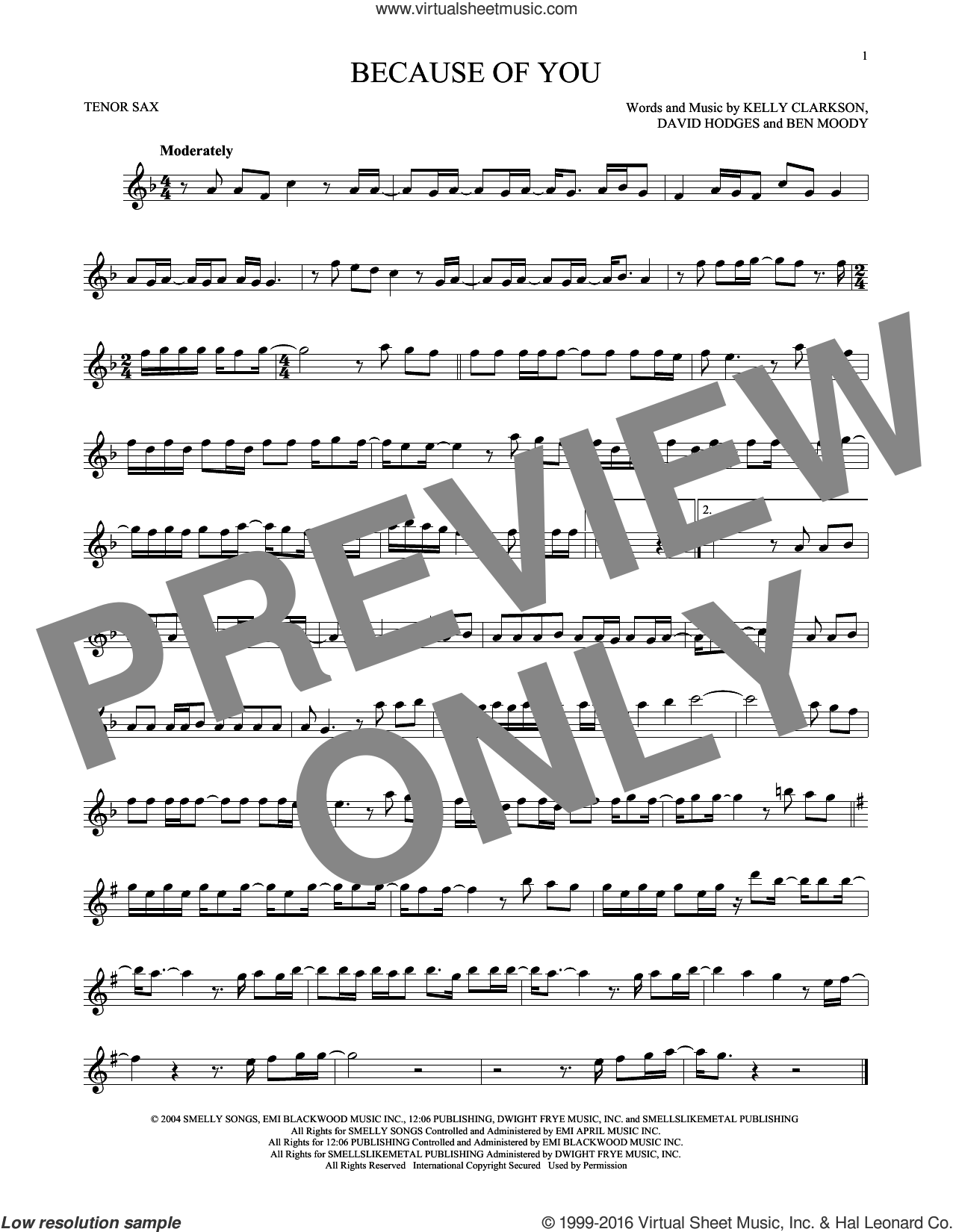 Because Of You sheet music for tenor saxophone solo by Kelly Clarkson, Ben Moody and David Hodges, intermediate skill level
