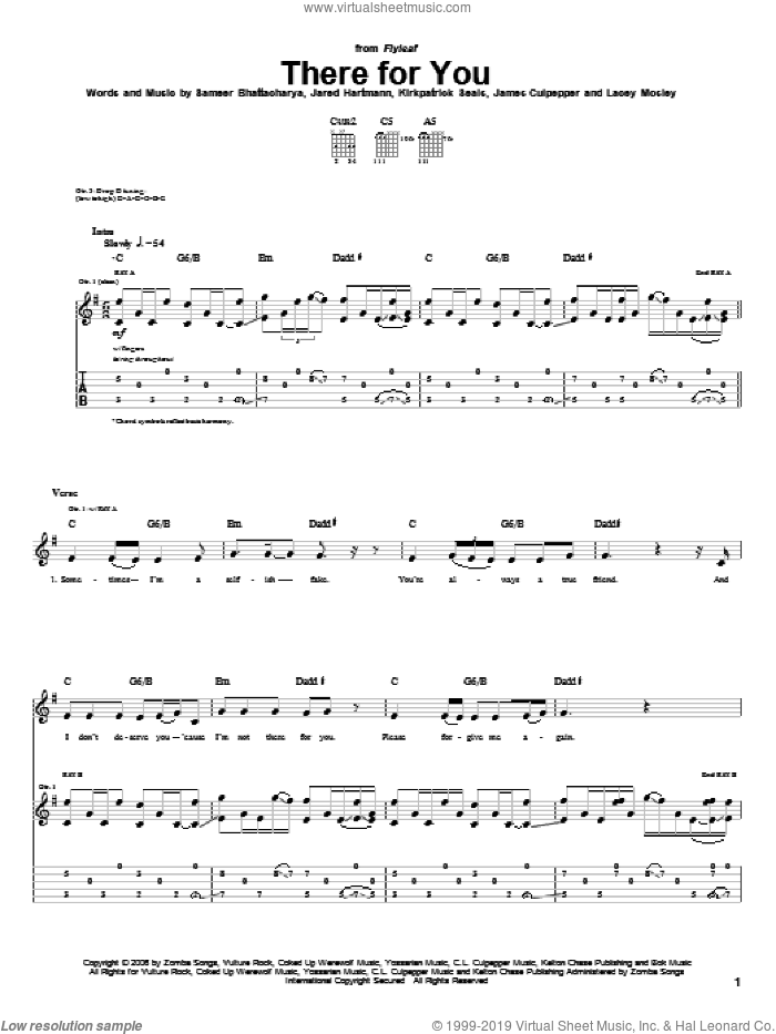 There For You sheet music for guitar (tablature) by Flyleaf, James Culpepper, Jared Hartmann, Kirkpatrick Seals, Lacey Mosley and Sameer Bhattacharya, intermediate skill level