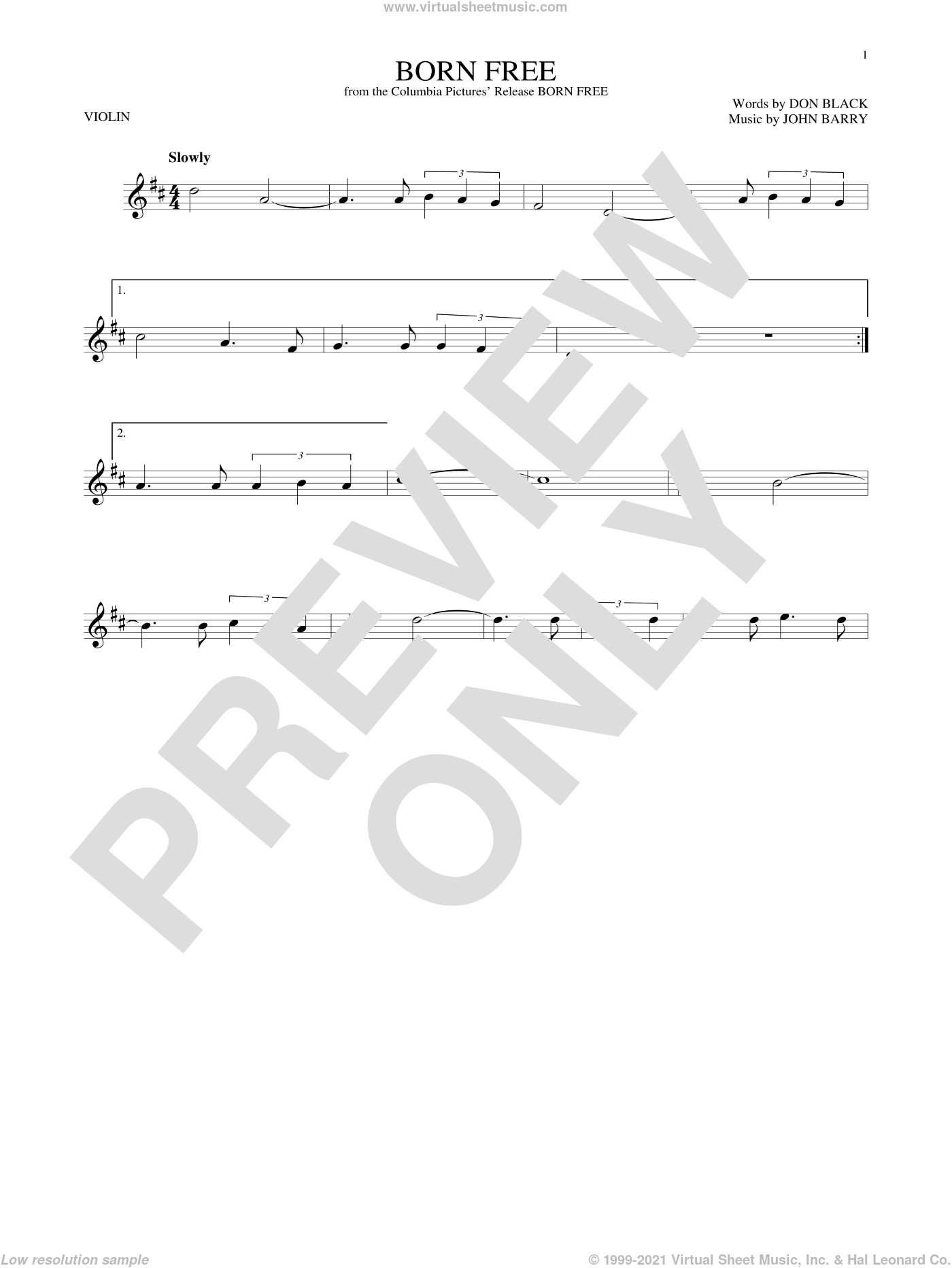 Born Free sheet music for violin solo by Don Black, Roger Williams and John Barry, intermediate skill level