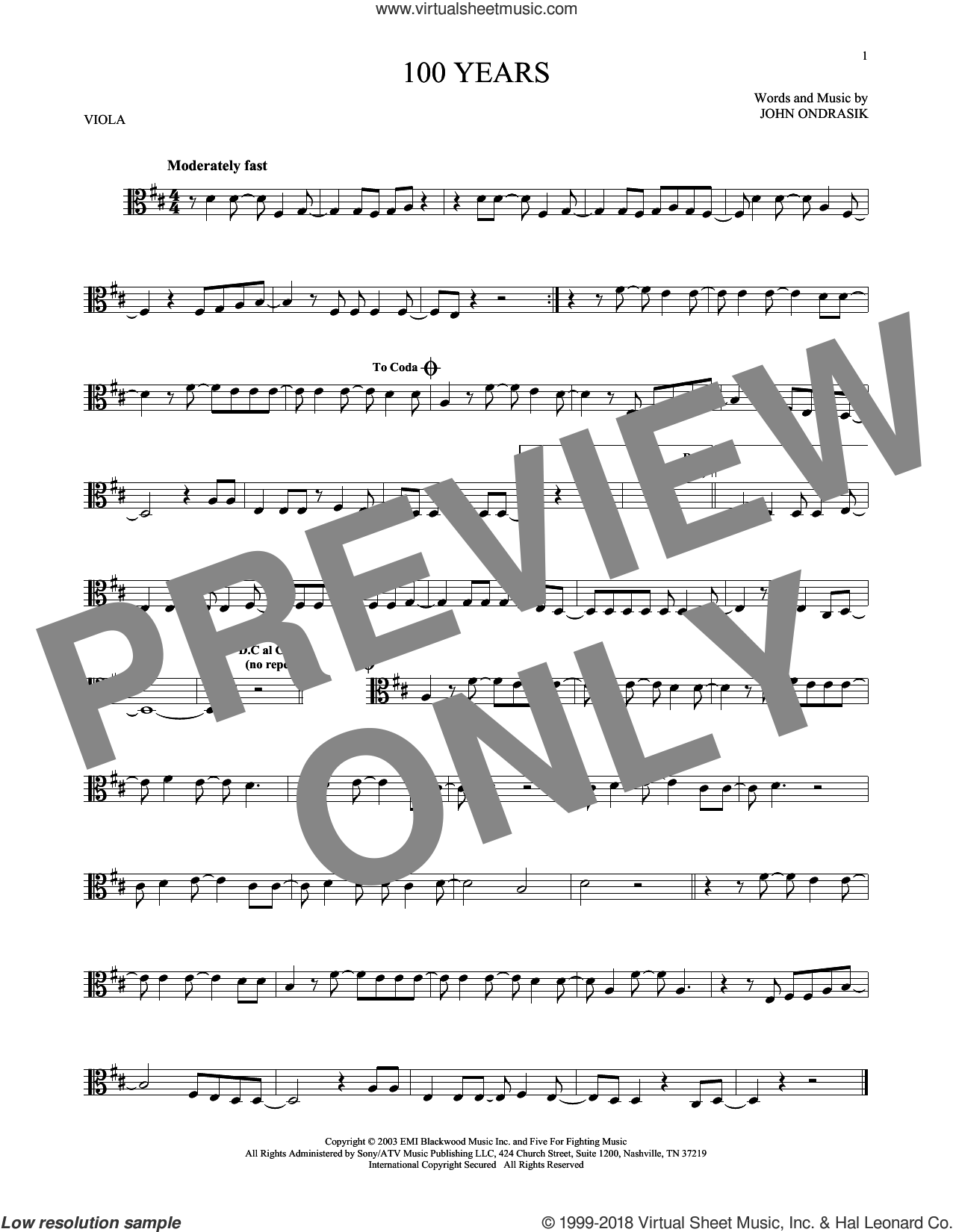 100 Years sheet music for viola solo by Five For Fighting and John Ondrasik, intermediate skill level