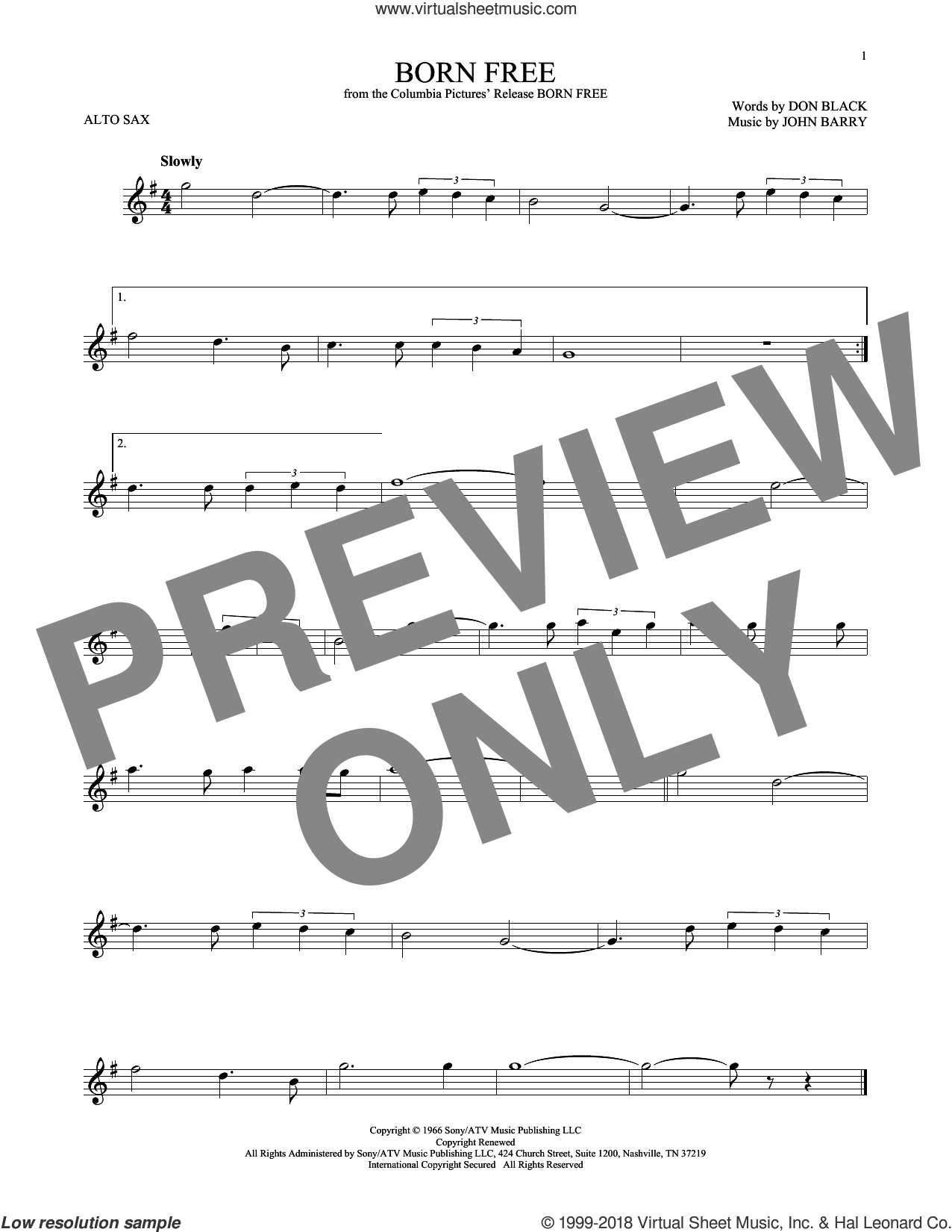 Born Free sheet music for alto saxophone solo by Don Black, Roger Williams and John Barry. Score Image Preview.