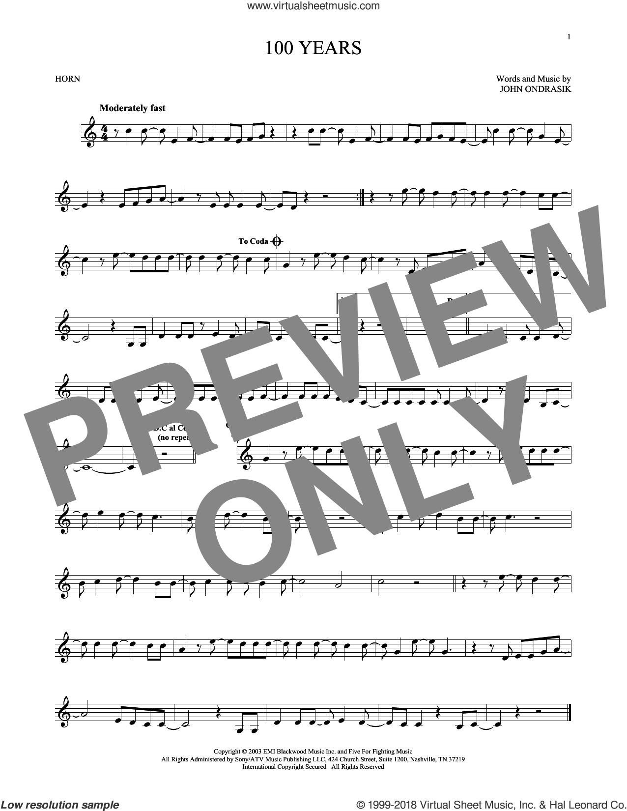 100 Years sheet music for horn solo by Five For Fighting and John Ondrasik, intermediate skill level