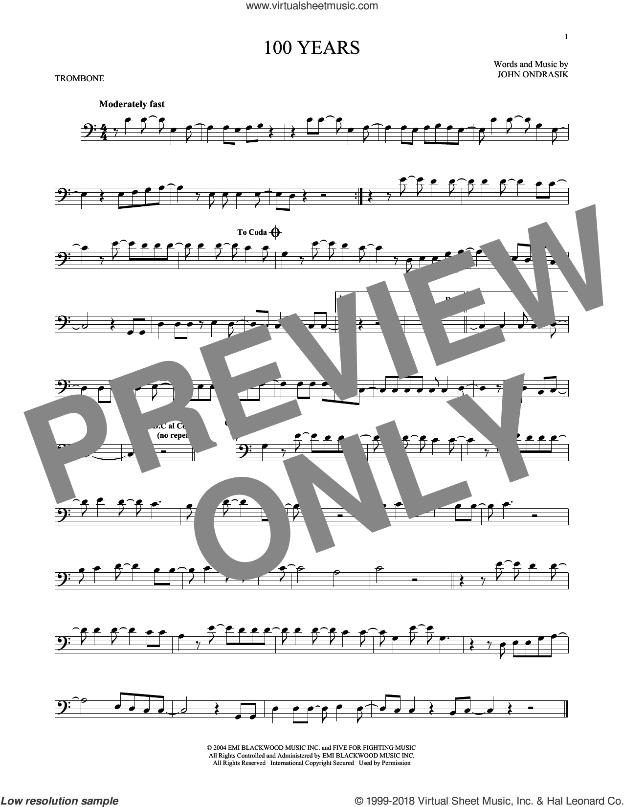 100 Years sheet music for trombone solo by Five For Fighting, intermediate trombone. Score Image Preview.