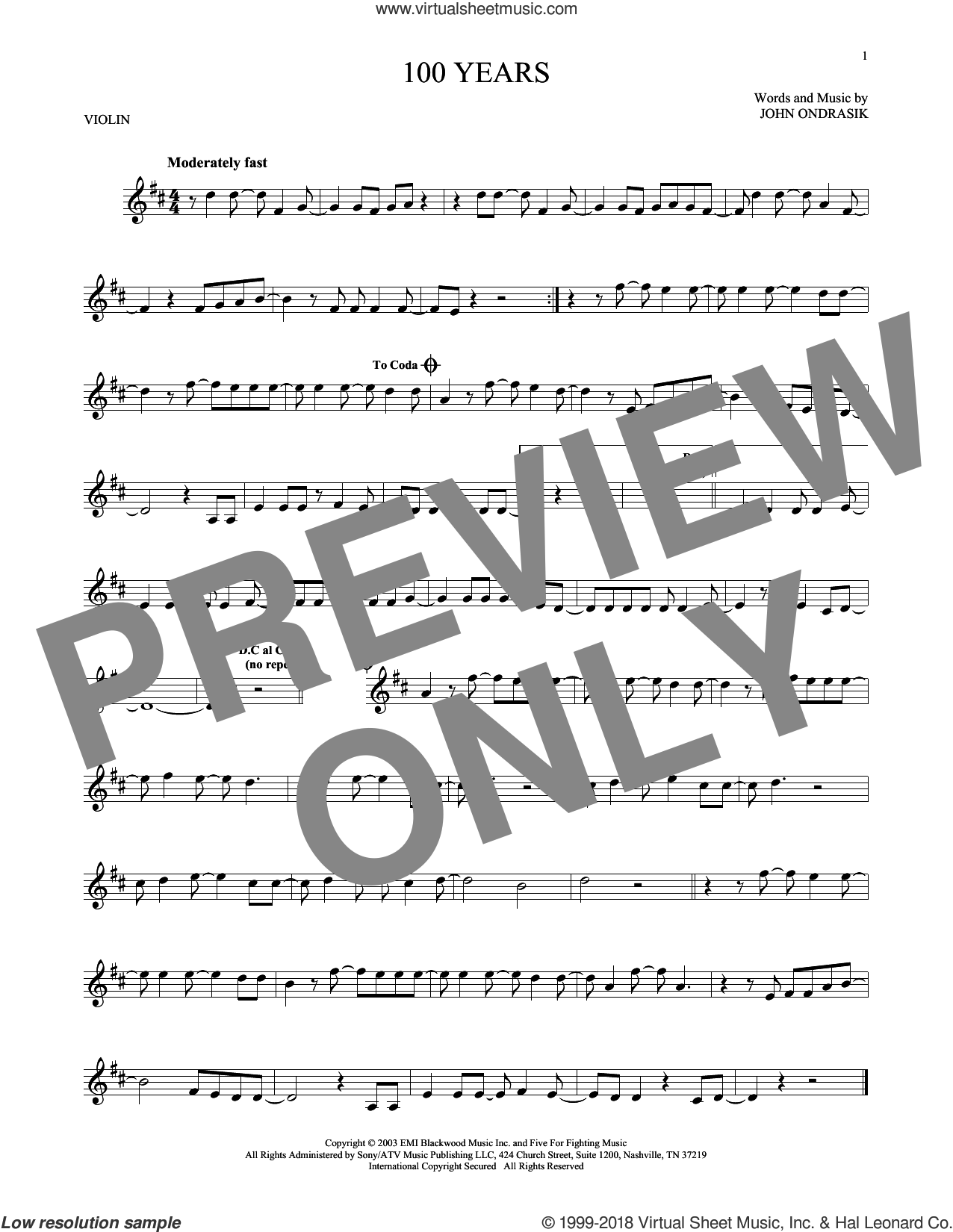 100 Years sheet music for violin solo by Five For Fighting and John Ondrasik, intermediate skill level