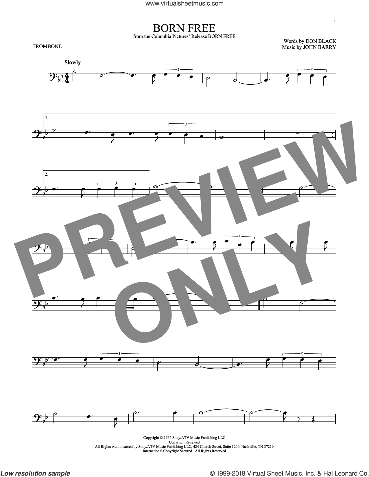 Born Free sheet music for trombone solo by Don Black, Roger Williams and John Barry, intermediate skill level