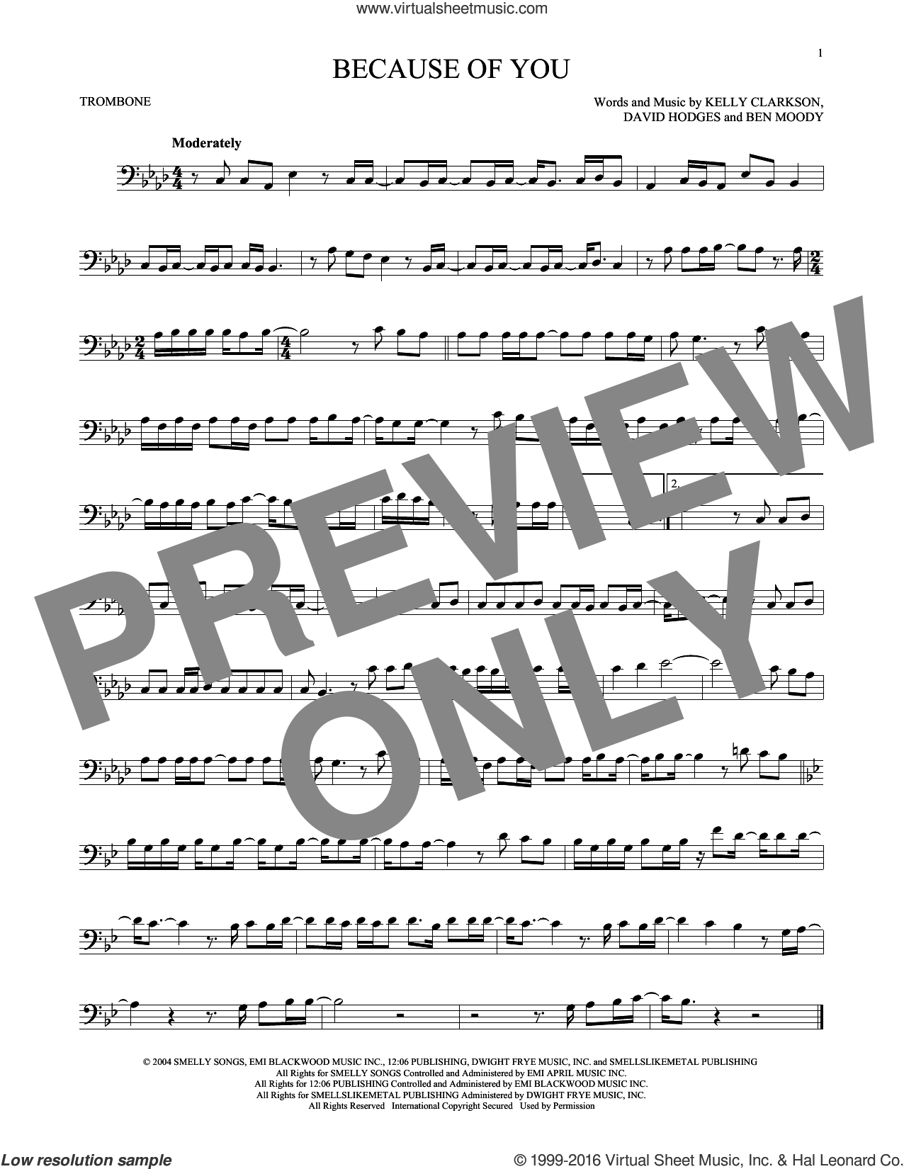 Because Of You sheet music for trombone solo by Kelly Clarkson, Ben Moody and David Hodges, intermediate skill level