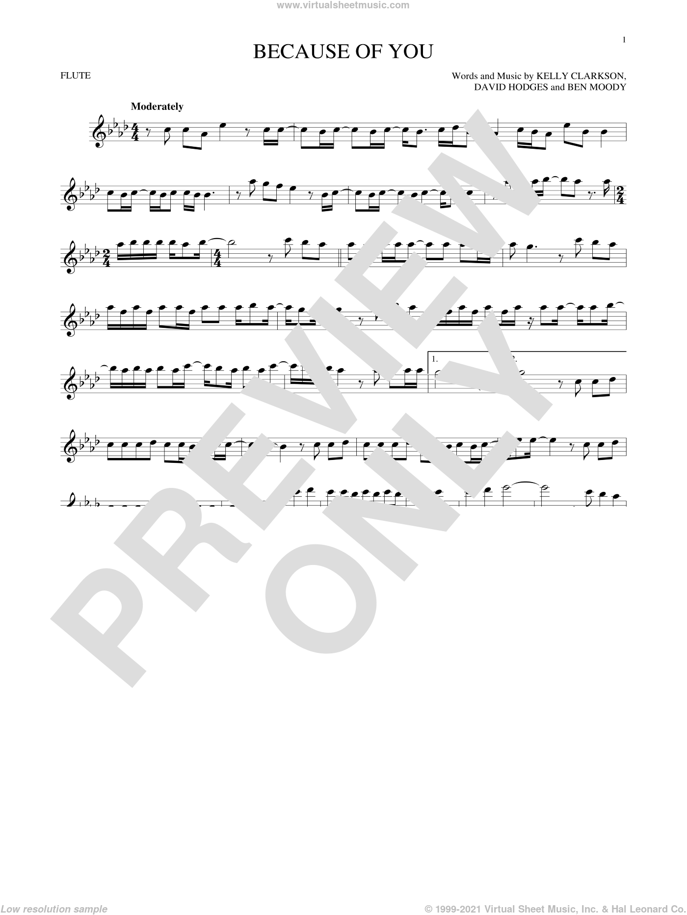 Because Of You sheet music for flute solo by Kelly Clarkson, Ben Moody and David Hodges. Score Image Preview.