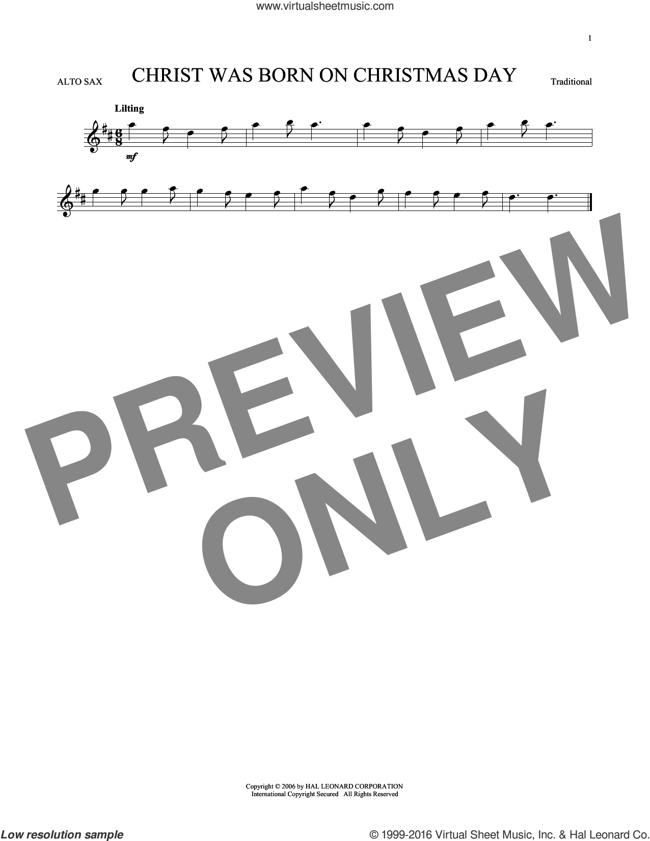 Christ Was Born On Christmas Day sheet music for alto saxophone solo, intermediate skill level