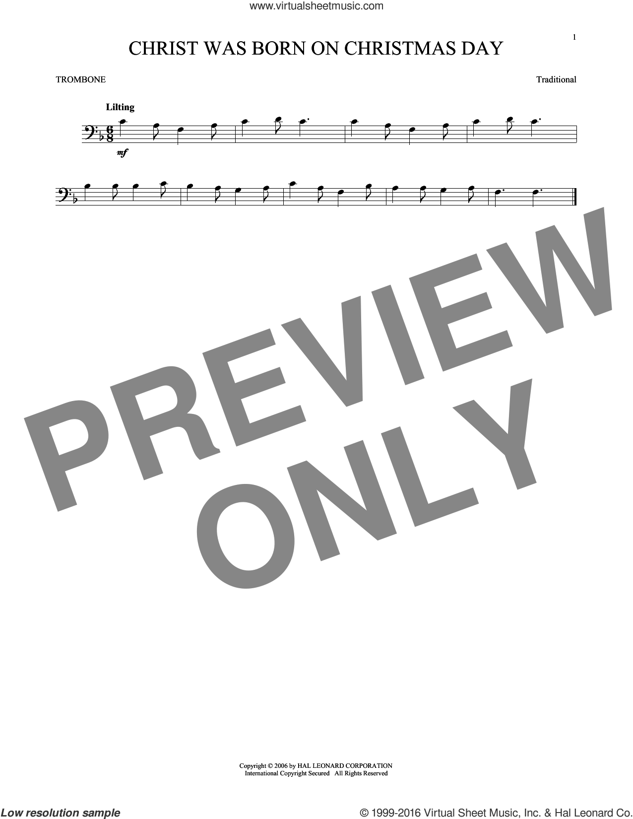 Christ Was Born On Christmas Day sheet music for trombone solo. Score Image Preview.