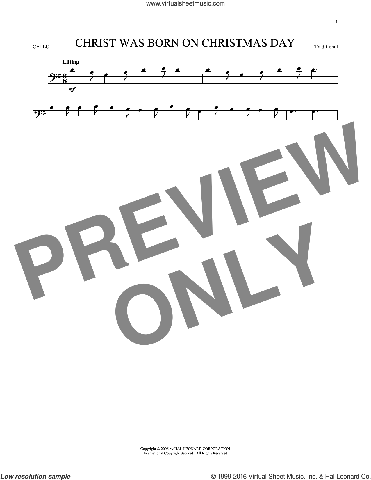 Christ Was Born On Christmas Day sheet music for cello solo, intermediate skill level