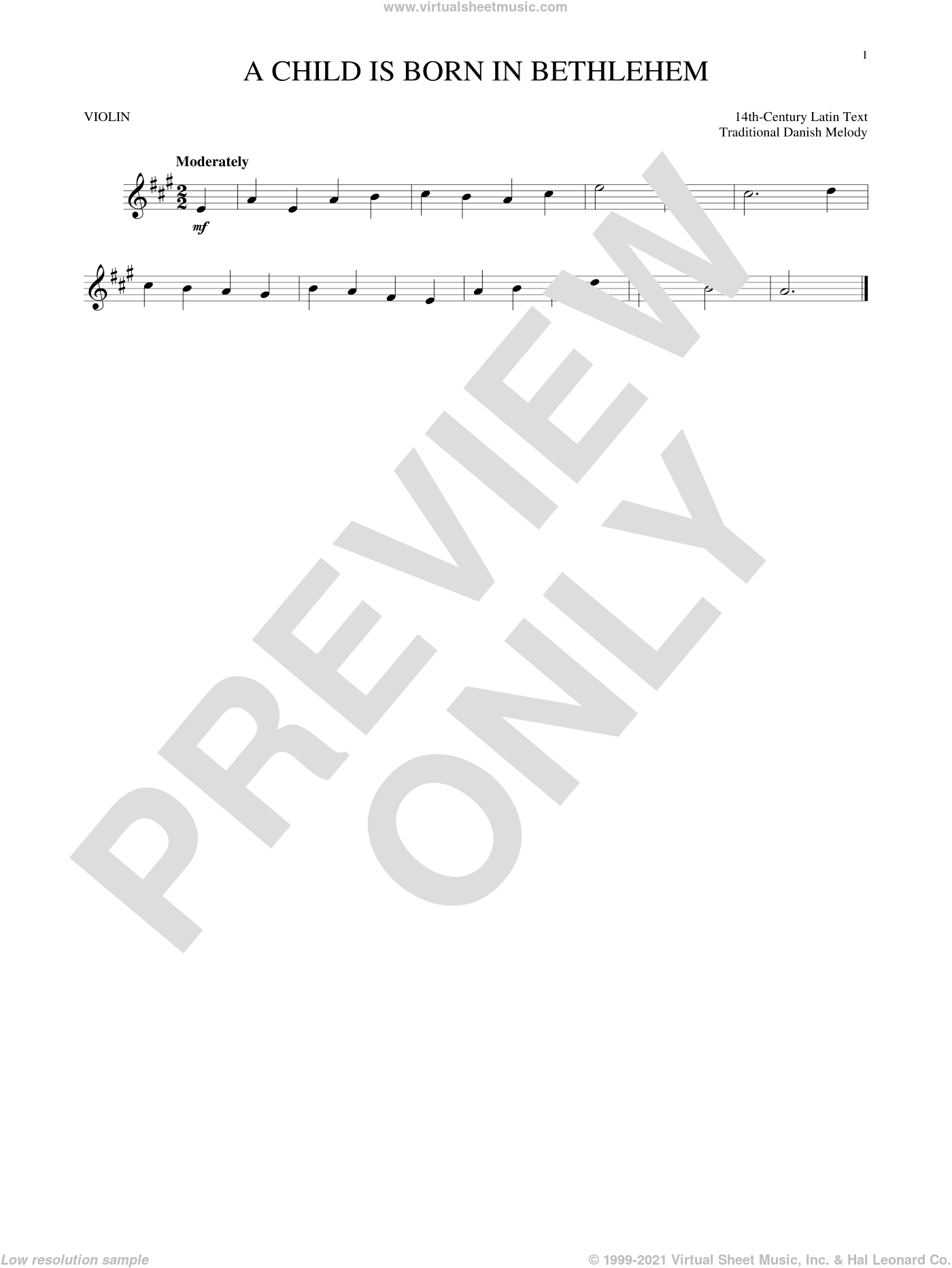 A Child Is Born In Bethlehem sheet music for violin solo by Nicolai F.S. Grundtvig and Traditional Danish Melody. Score Image Preview.