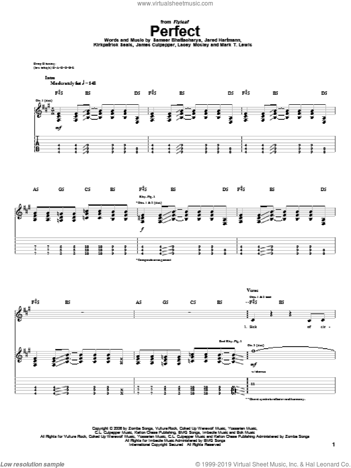 Perfect sheet music for guitar (tablature) by Flyleaf, James Culpepper, Jared Hartmann, Kirkpatrick Seals, Lacey Mosley, Mark T. Lewis and Sameer Bhattacharya, intermediate skill level
