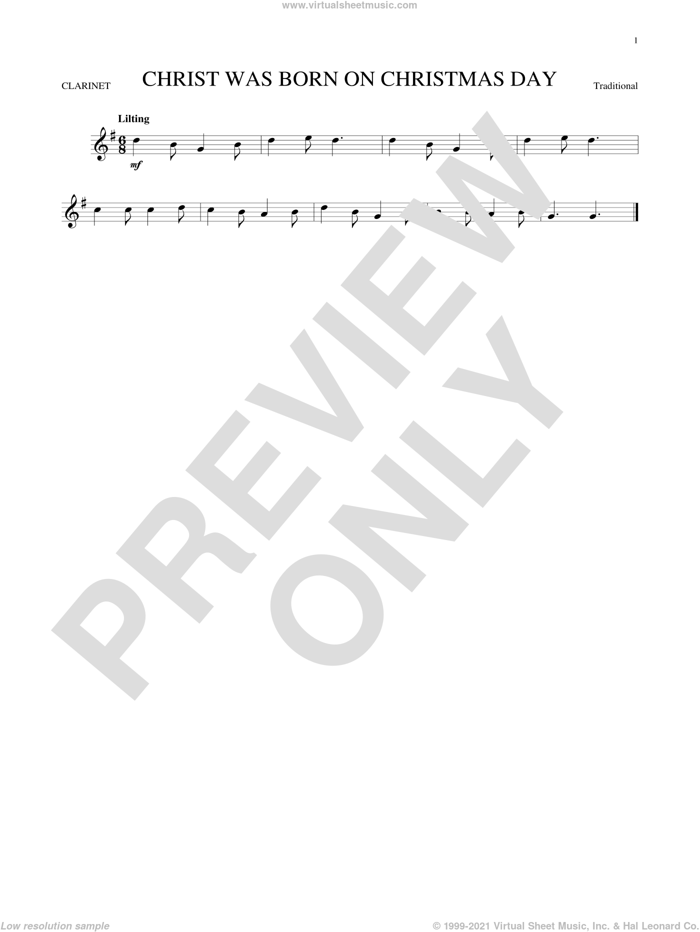 Christ Was Born On Christmas Day sheet music for clarinet solo, intermediate. Score Image Preview.