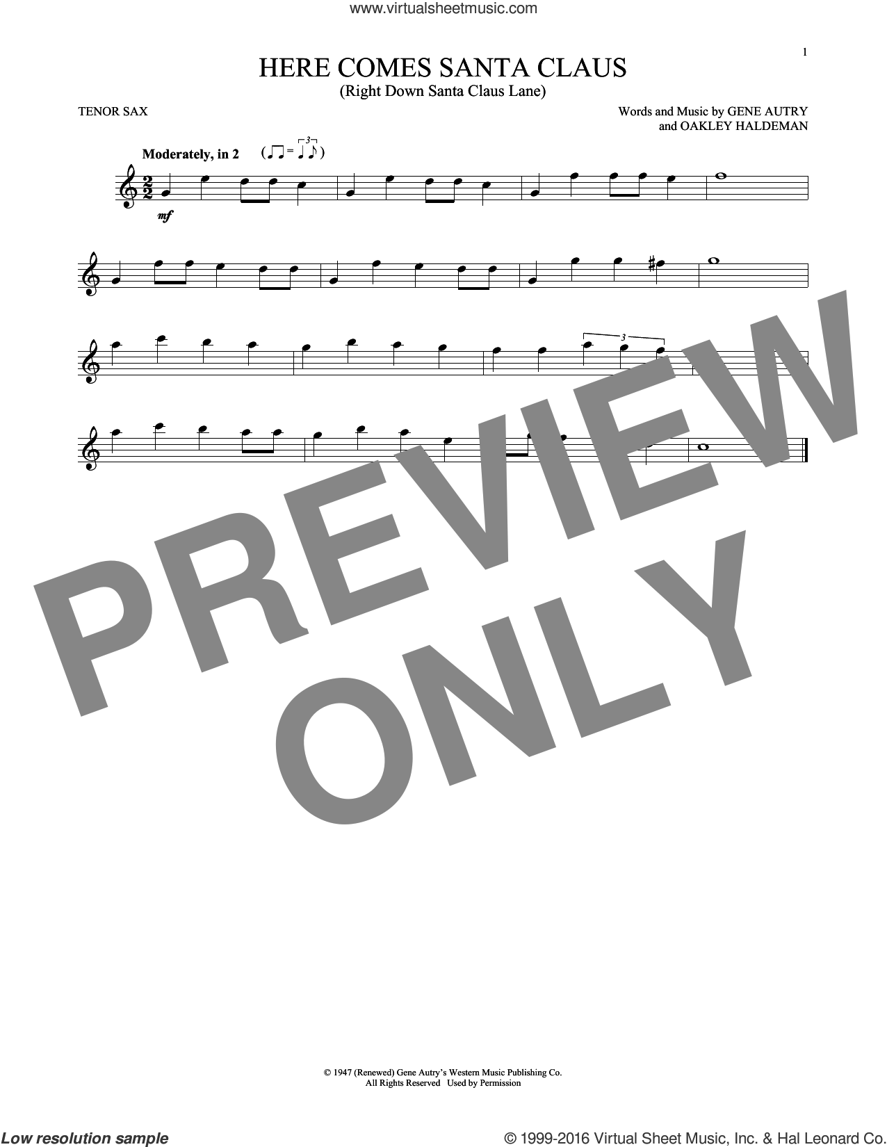 Here Comes Santa Claus (Right Down Santa Claus Lane) sheet music for tenor saxophone solo by Gene Autry and Carpenters, intermediate. Score Image Preview.