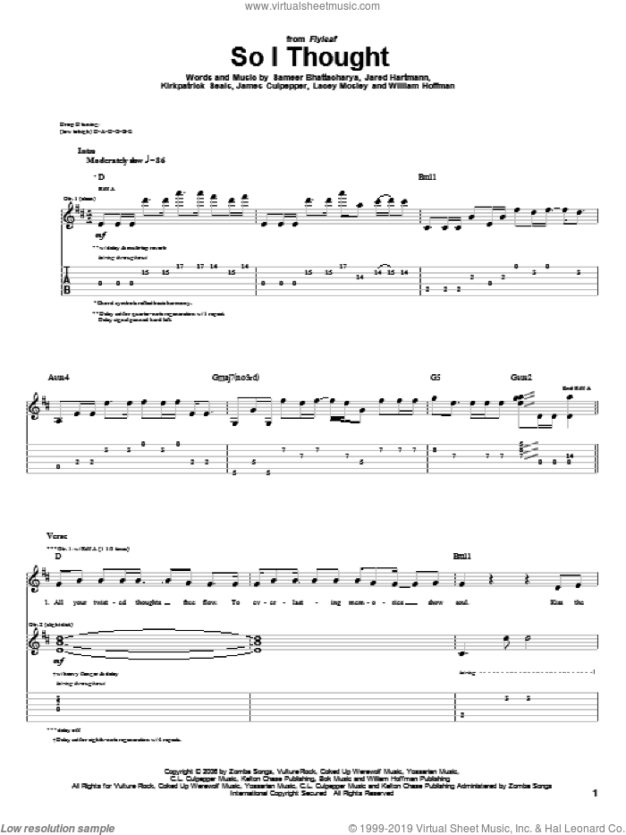 So I Thought sheet music for guitar (tablature) by Flyleaf and William Hoffman, intermediate. Score Image Preview.