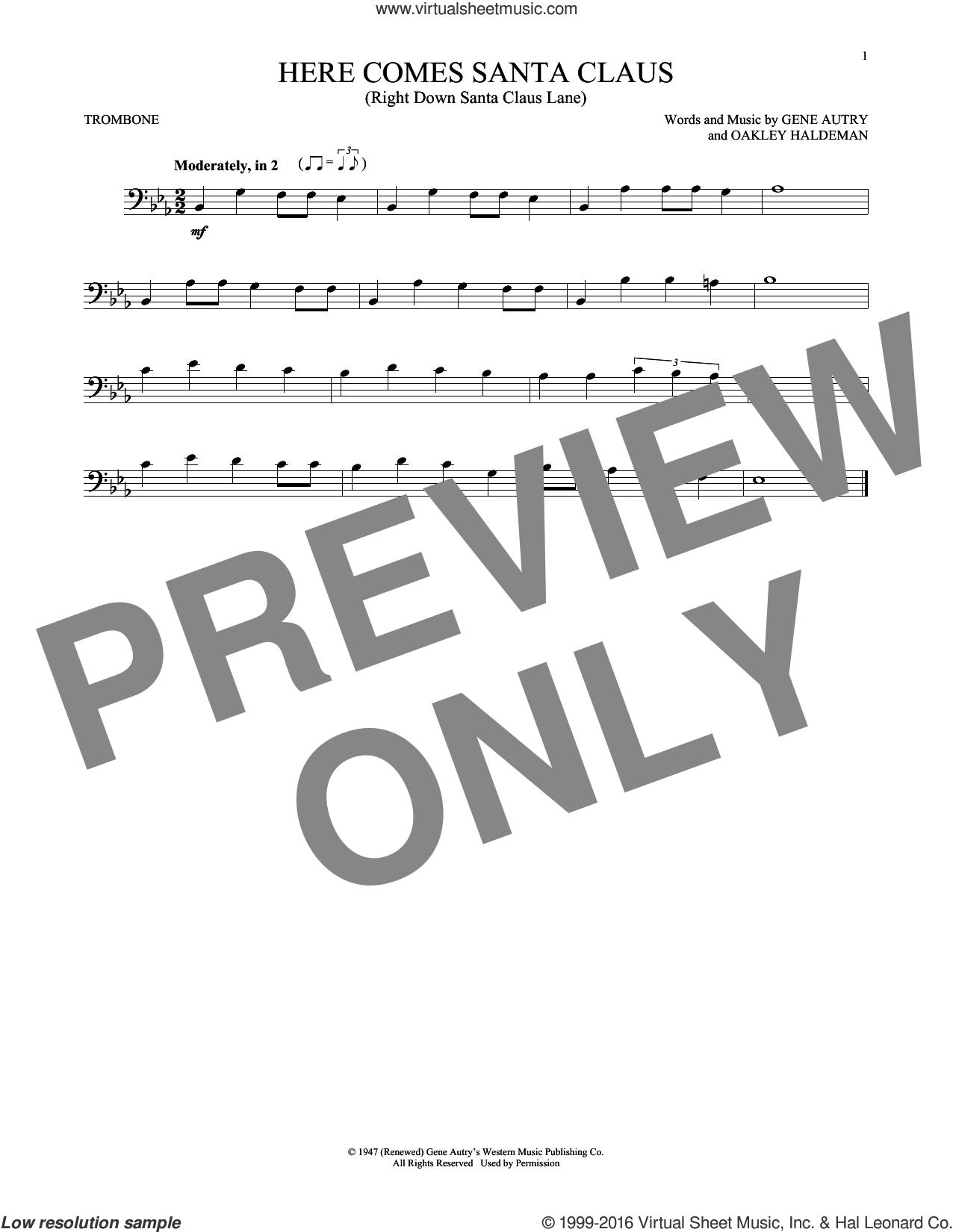 Here Comes Santa Claus (Right Down Santa Claus Lane) sheet music for trombone solo by Gene Autry, Carpenters and Oakley Haldeman, intermediate skill level
