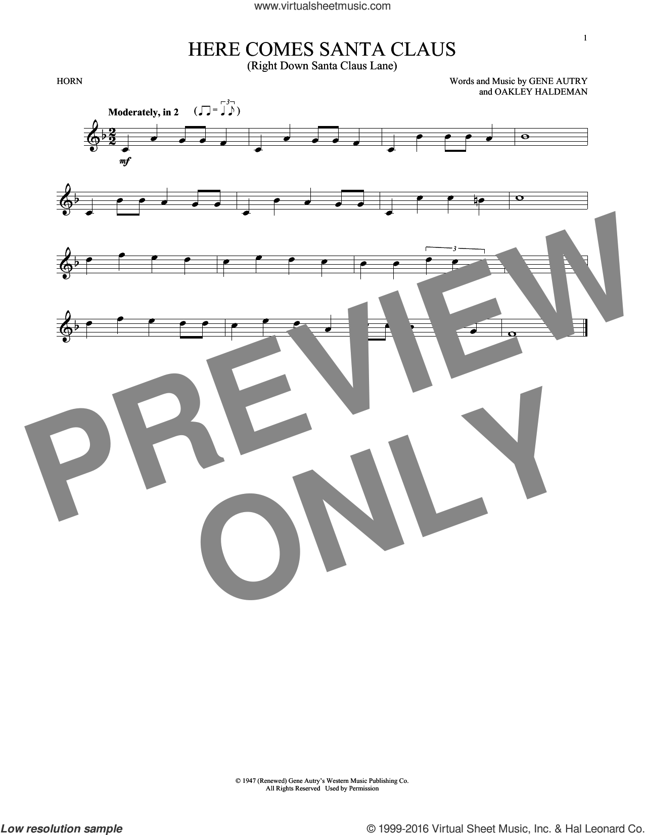 Here Comes Santa Claus (Right Down Santa Claus Lane) sheet music for horn solo by Gene Autry, Carpenters and Oakley Haldeman, intermediate skill level