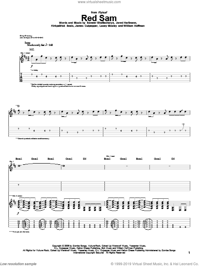 Red Sam sheet music for guitar (tablature) by Flyleaf, James Culpepper, Jared Hartmann, Kirkpatrick Seals, Lacey Mosley, Sameer Bhattacharya and William Hoffman, intermediate skill level