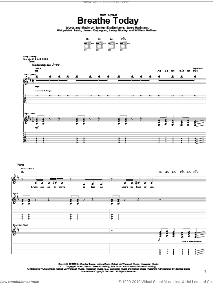 Breathe Today sheet music for guitar (tablature) by Flyleaf and William Hoffman, intermediate guitar (tablature). Score Image Preview.