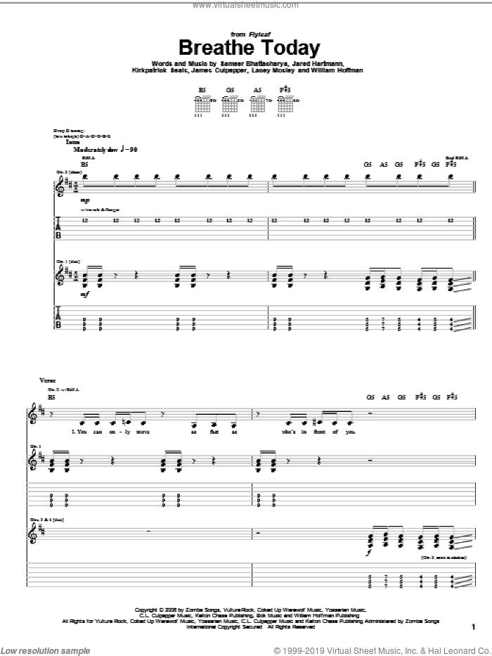 Breathe Today sheet music for guitar (tablature) by Flyleaf, James Culpepper, Jared Hartmann, Kirkpatrick Seals, Lacey Mosley, Sameer Bhattacharya and William Hoffman, intermediate skill level