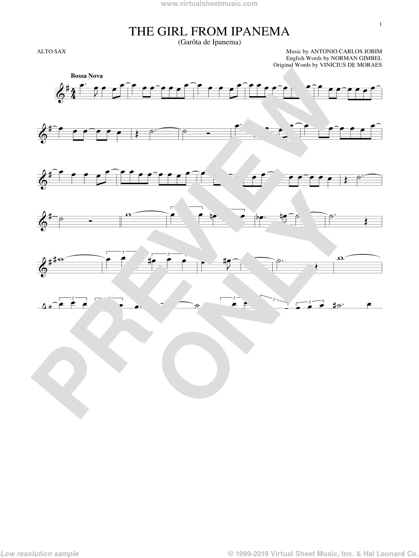The Girl From Ipanema sheet music for alto saxophone solo by Vinicius de Moraes, Stan Getz & Astrud Gilberto, Antonio Carlos Jobim and Norman Gimbel. Score Image Preview.