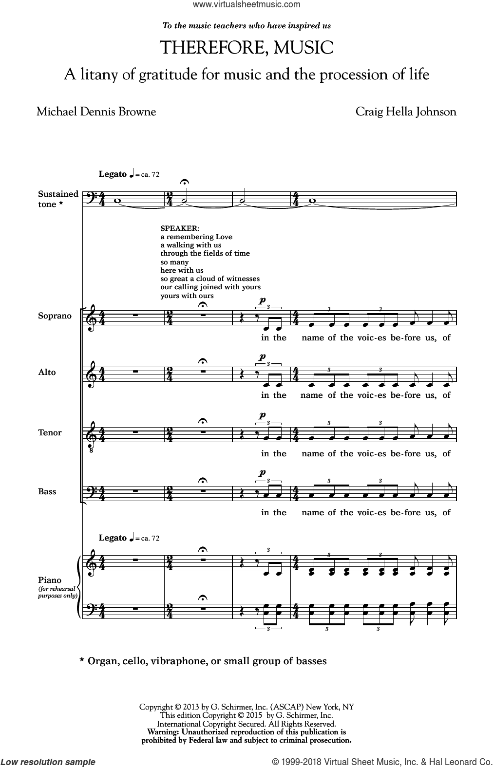 Therefore, Music sheet music for choir and piano (SATB) by Michael Dennis Browne and Craig Hella Johnson. Score Image Preview.