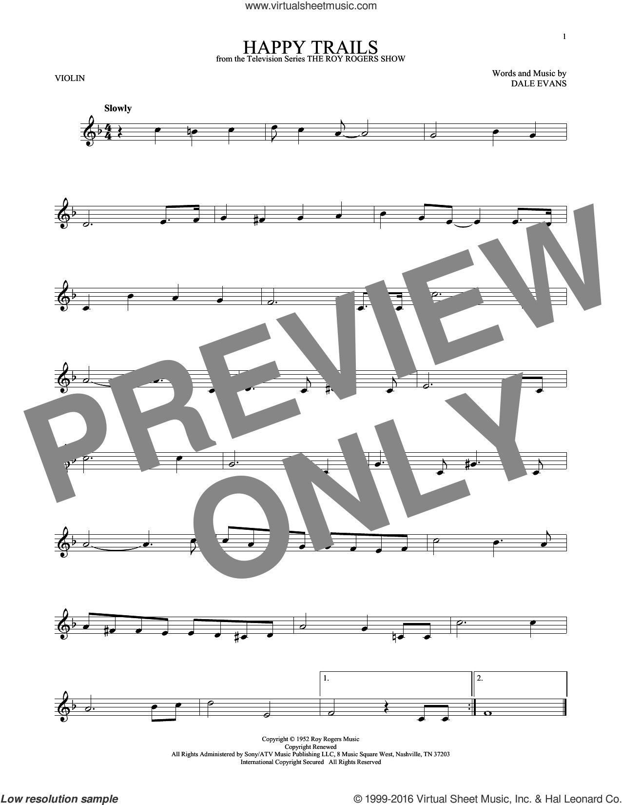 Happy Trails sheet music for violin solo by Roy Rogers and Dale Evans, intermediate skill level
