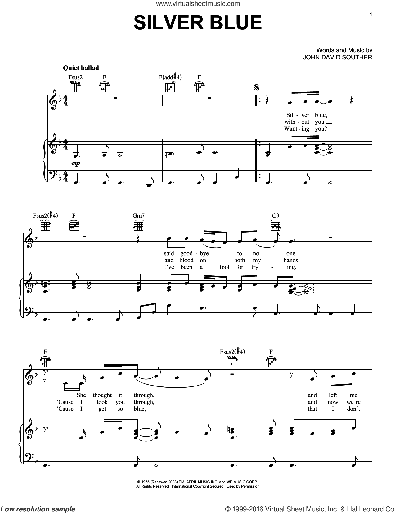 Silver Blue sheet music for voice, piano or guitar by John David Souther. Score Image Preview.
