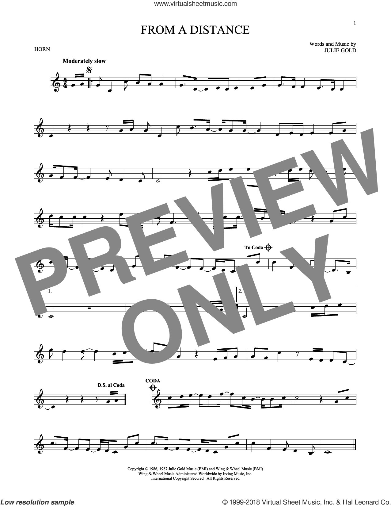 From A Distance sheet music for horn solo by Bette Midler and Julie Gold. Score Image Preview.