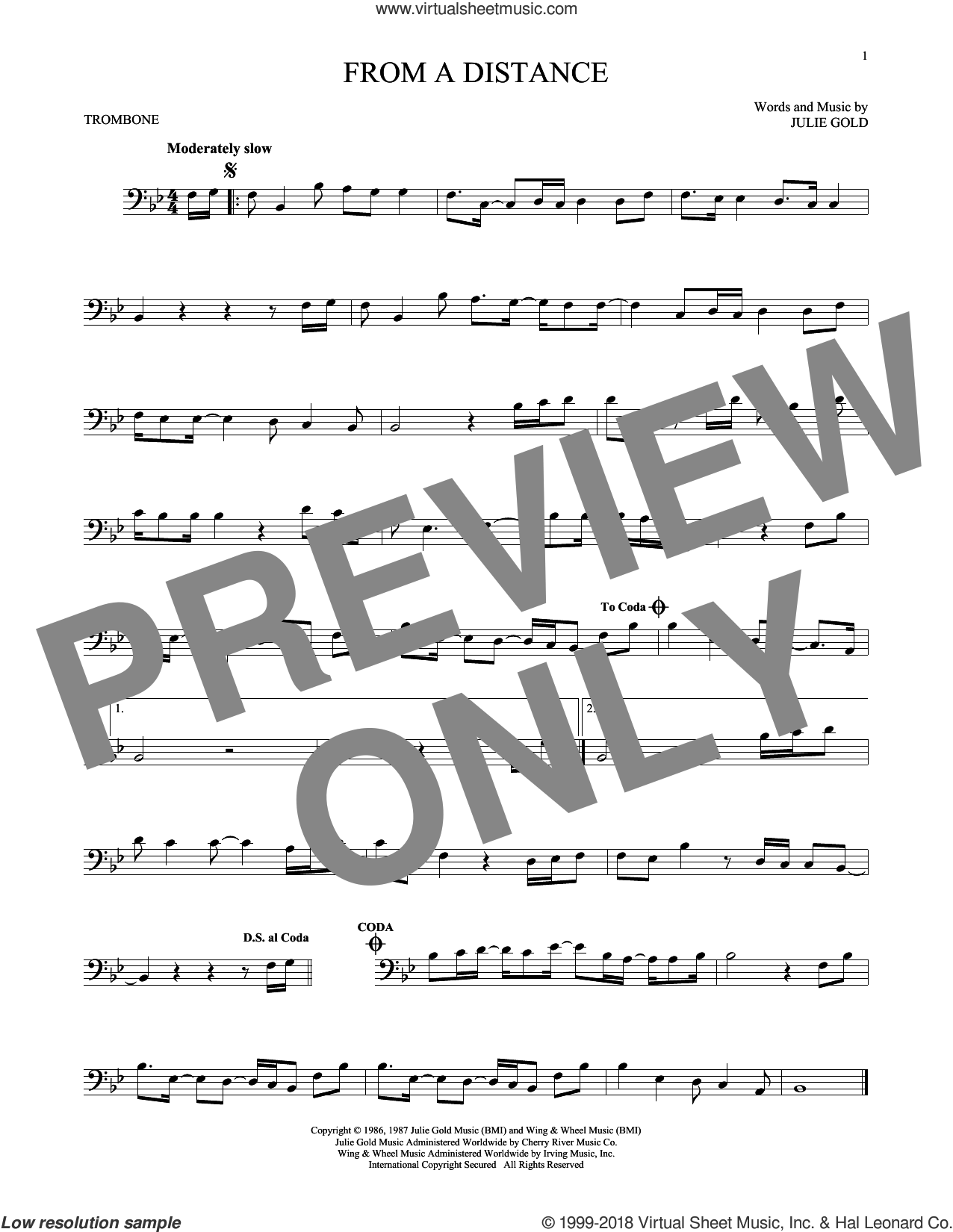From A Distance sheet music for trombone solo by Julie Gold and Bette Midler. Score Image Preview.