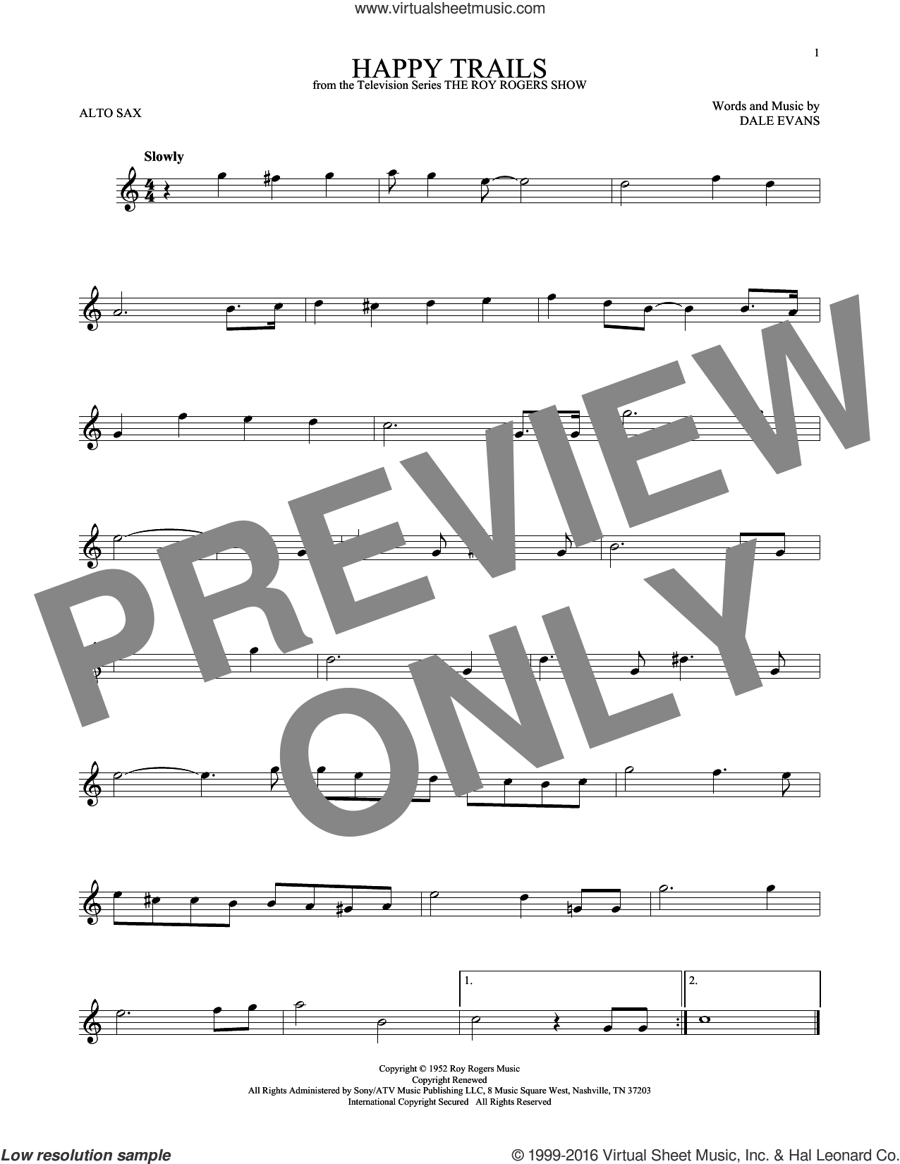 Happy Trails sheet music for alto saxophone solo by Roy Rogers and Dale Evans, intermediate skill level