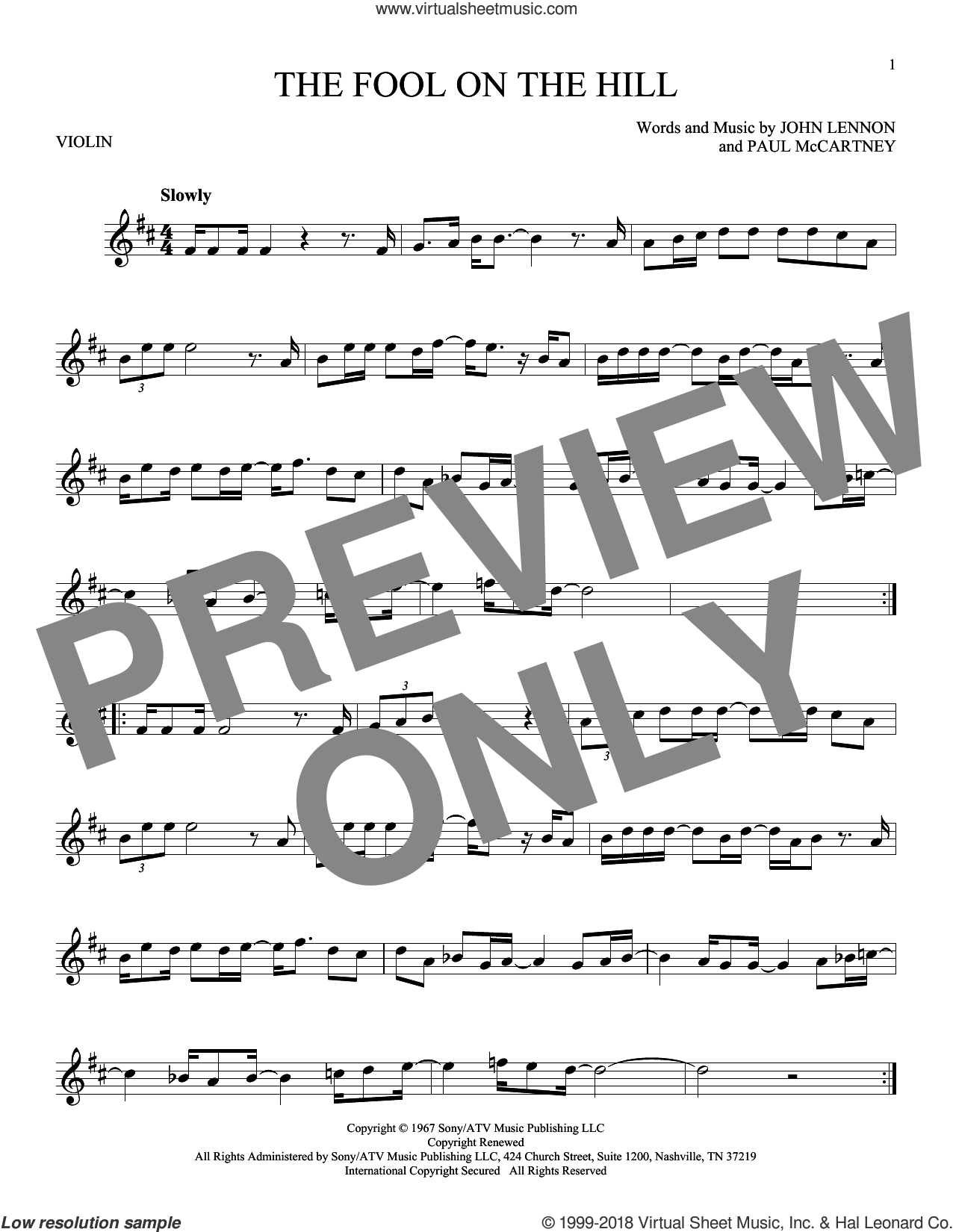 The Fool On The Hill sheet music for violin solo by The Beatles, John Lennon and Paul McCartney, intermediate skill level