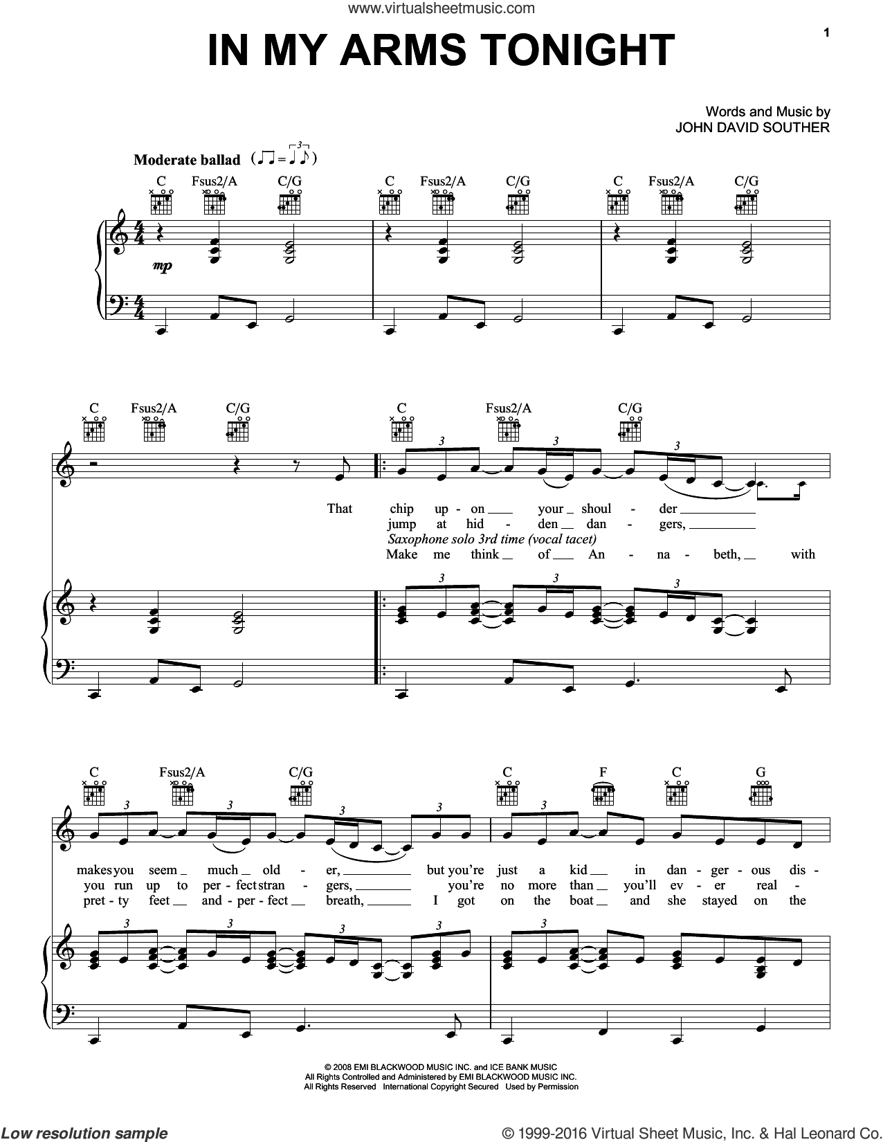 In My Arms Tonight sheet music for voice, piano or guitar by John David Souther. Score Image Preview.