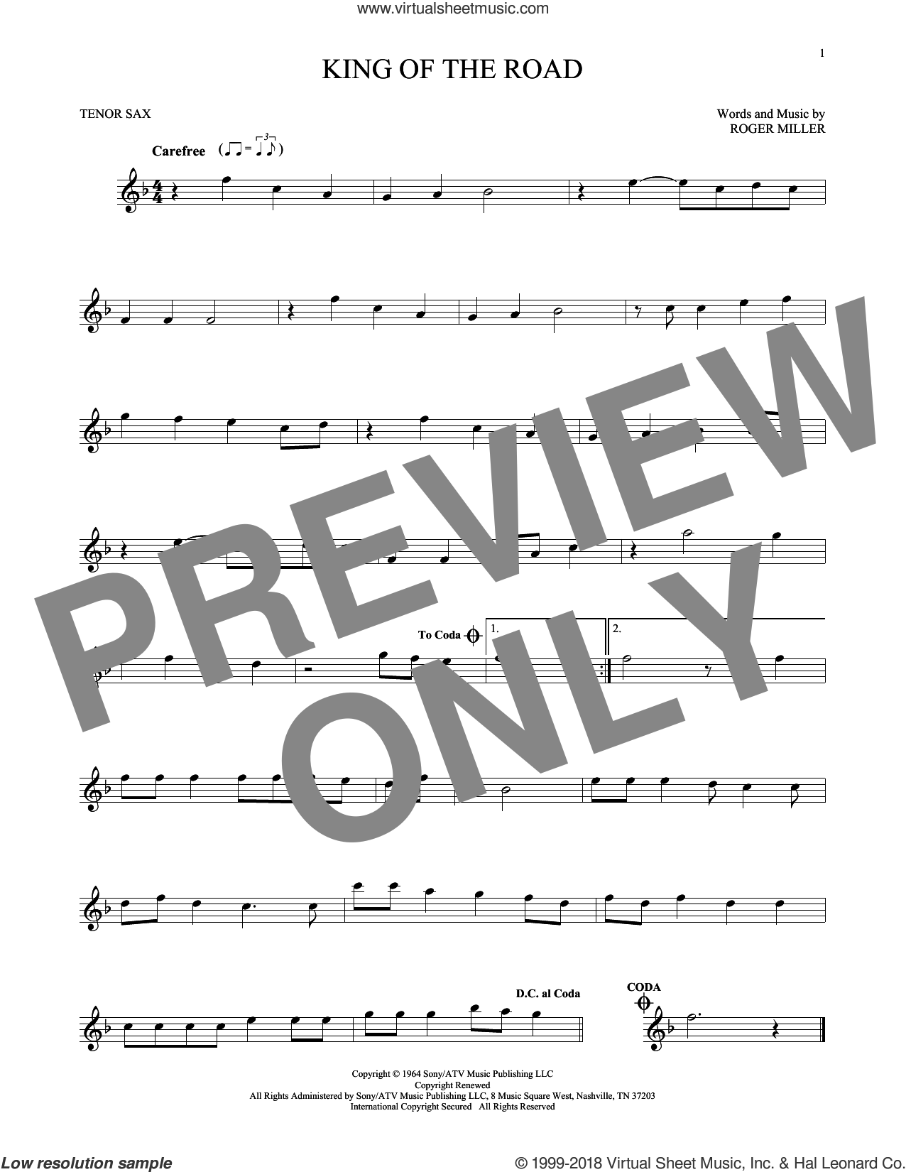 King Of The Road sheet music for tenor saxophone solo by Roger Miller. Score Image Preview.