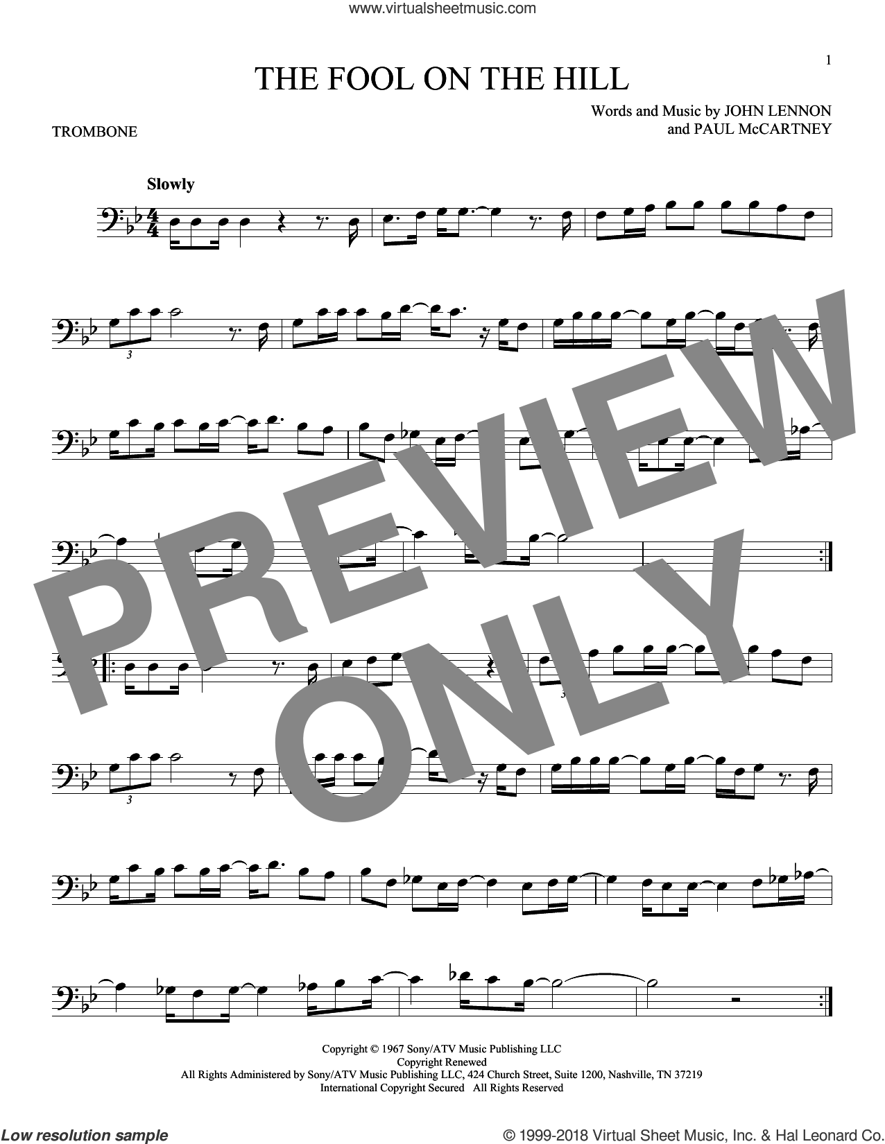 The Fool On The Hill sheet music for trombone solo by The Beatles, John Lennon and Paul McCartney, intermediate skill level