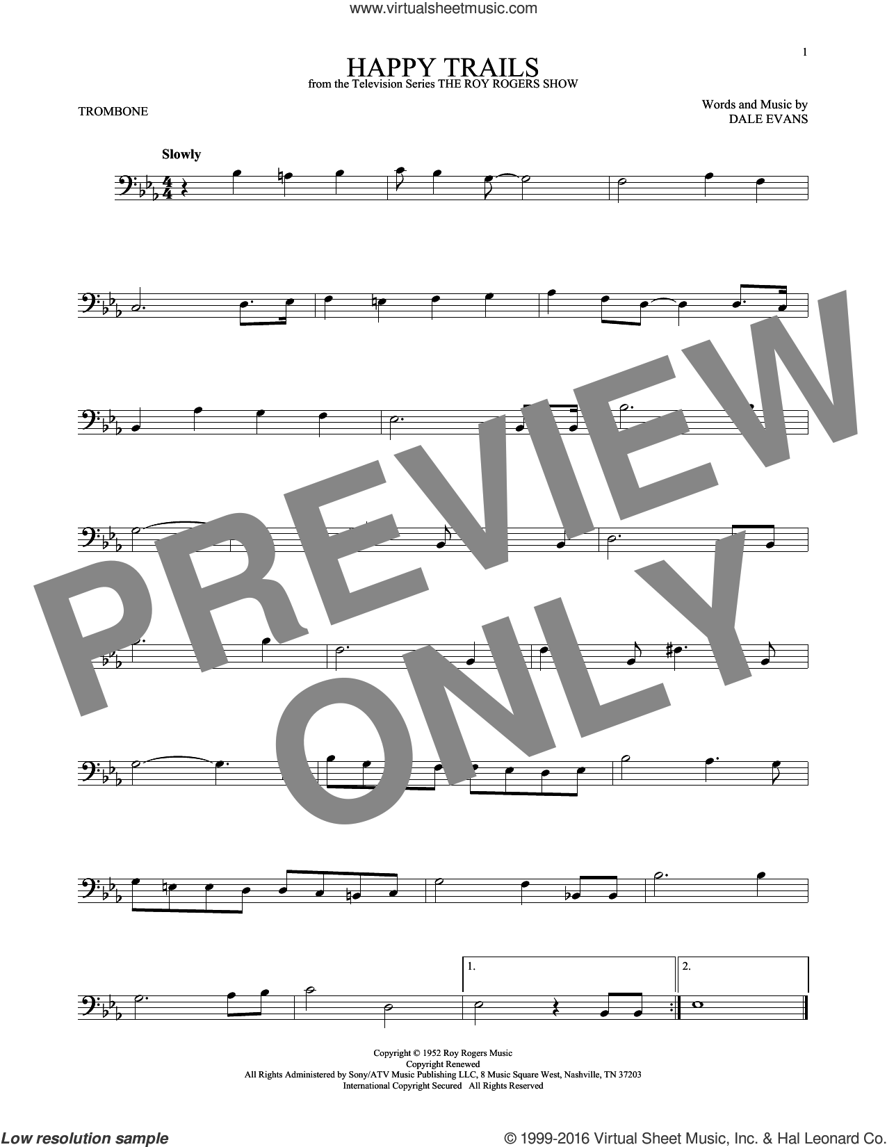 Happy Trails sheet music for trombone solo by Roy Rogers and Dale Evans, intermediate skill level