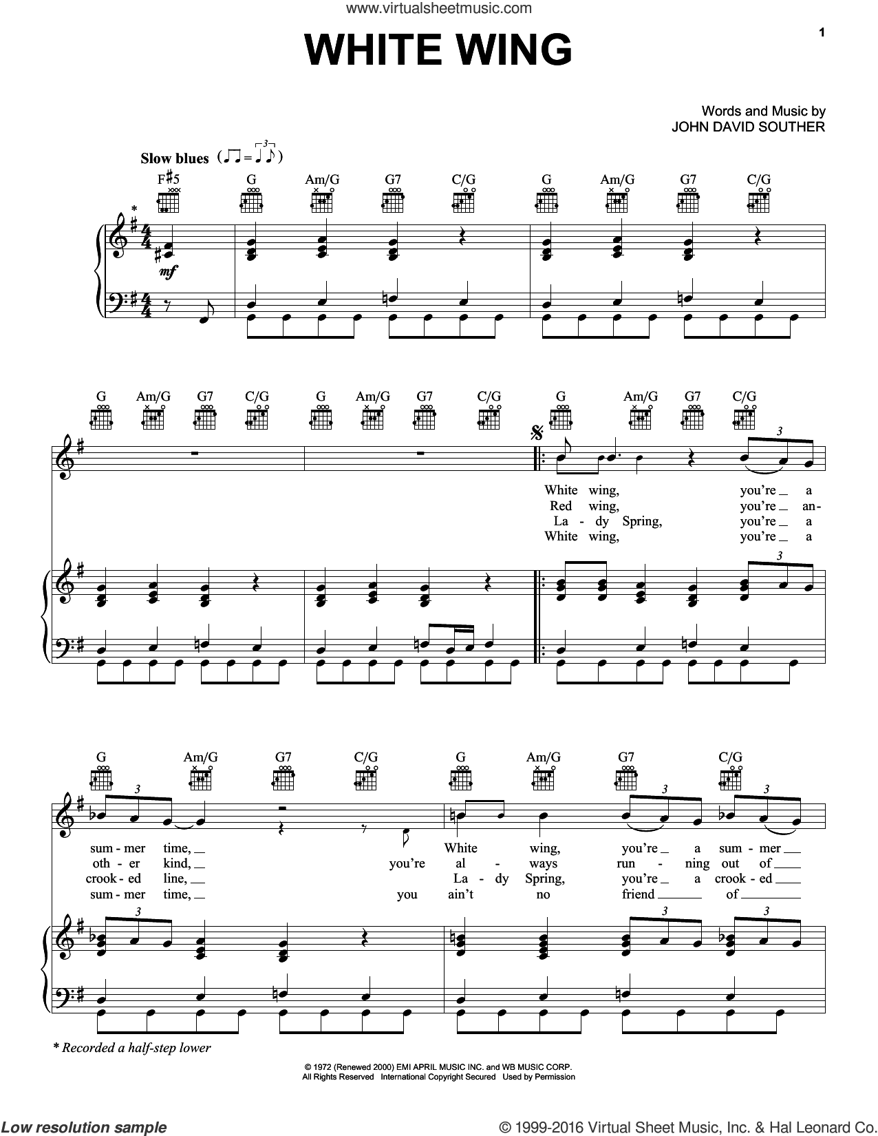 White Wing sheet music for voice, piano or guitar by John David Souther. Score Image Preview.