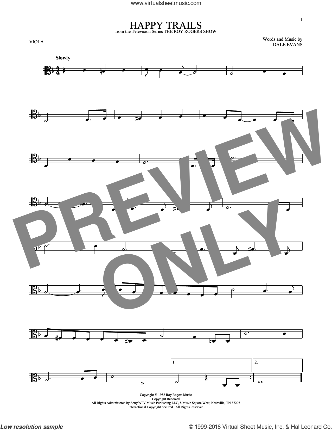 Happy Trails sheet music for viola solo by Dale Evans and Roy Rogers. Score Image Preview.
