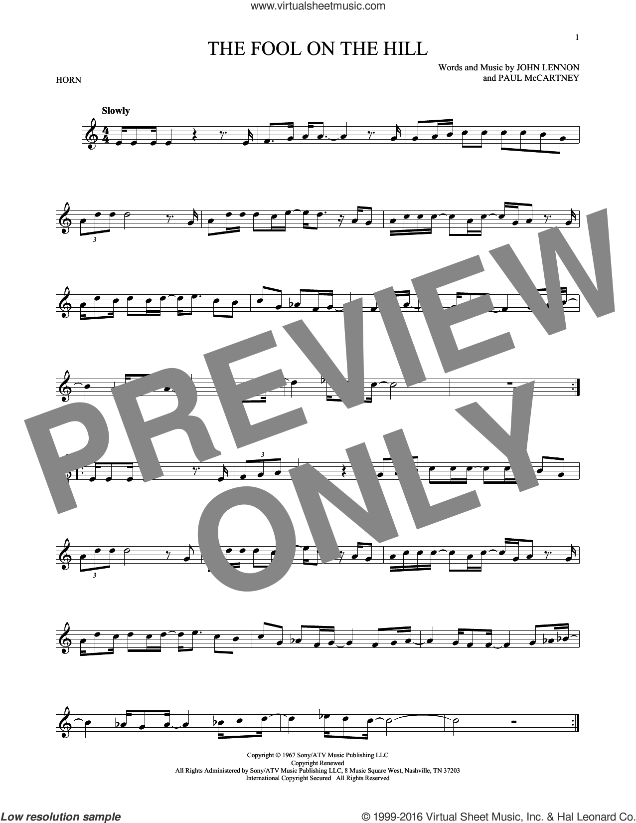 The Fool On The Hill sheet music for horn solo by The Beatles, John Lennon and Paul McCartney, intermediate horn. Score Image Preview.