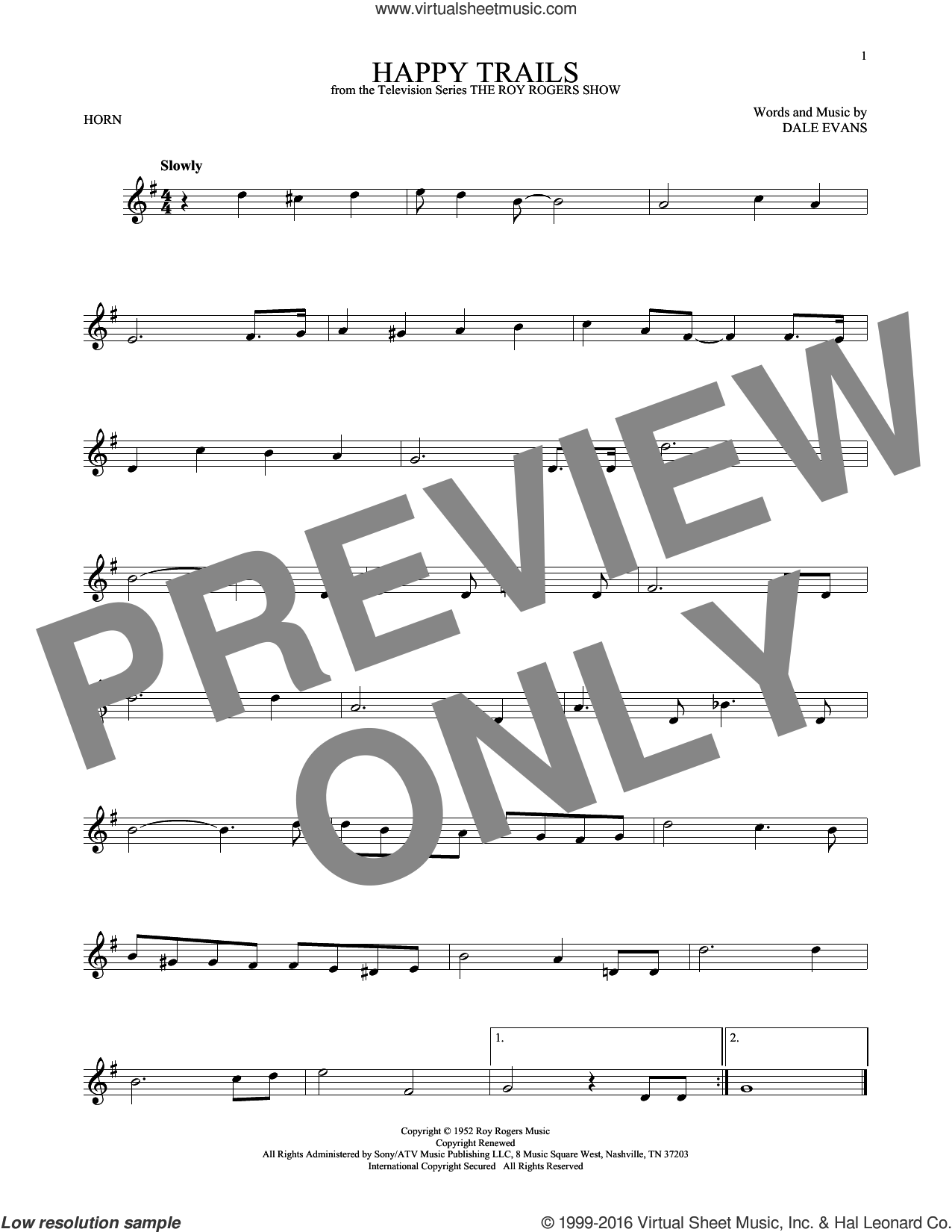 Happy Trails sheet music for horn solo by Dale Evans and Roy Rogers. Score Image Preview.