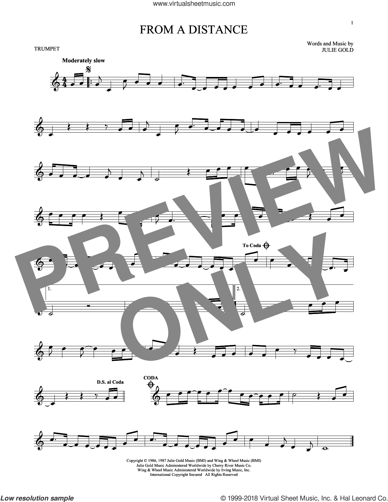 From A Distance sheet music for trumpet solo by Bette Midler and Julie Gold, intermediate skill level